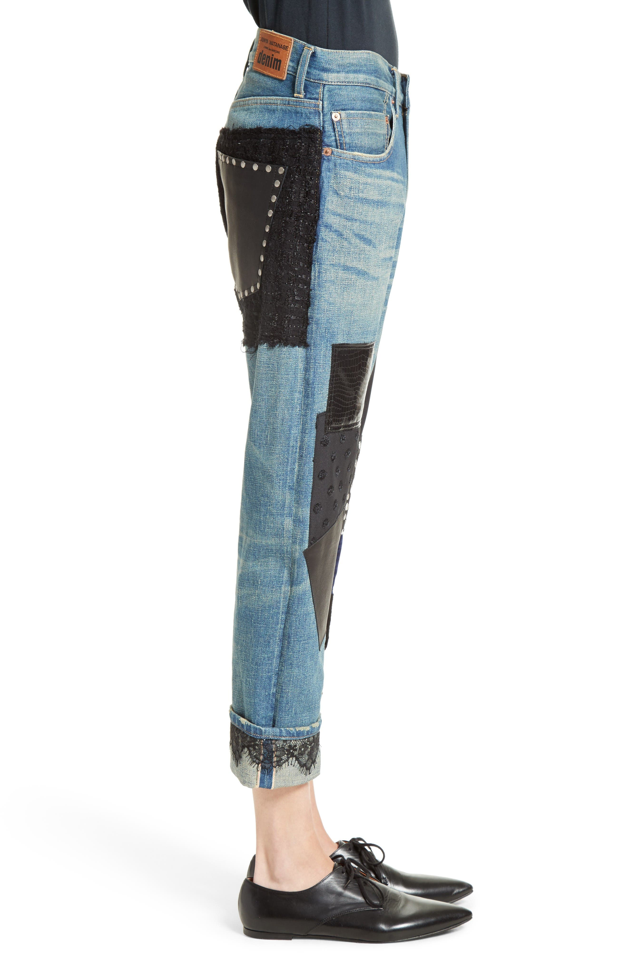 Patchwork Boyfriend Jeans,                             Alternate thumbnail 5, color,                             Indigo Black