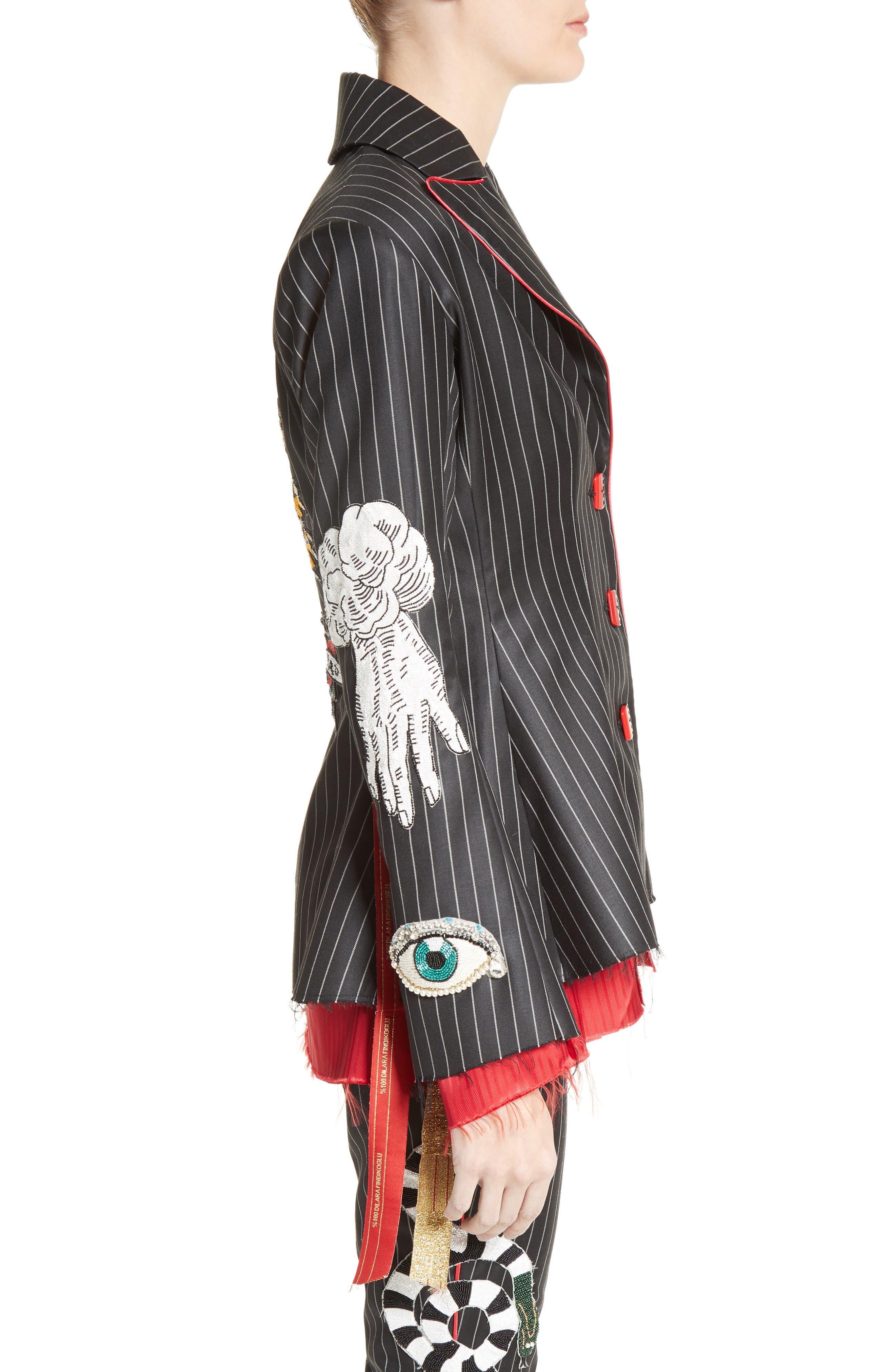 Alternate Image 5  - Dilara Findikoglu Embellished Pinstripe Suit Jacket