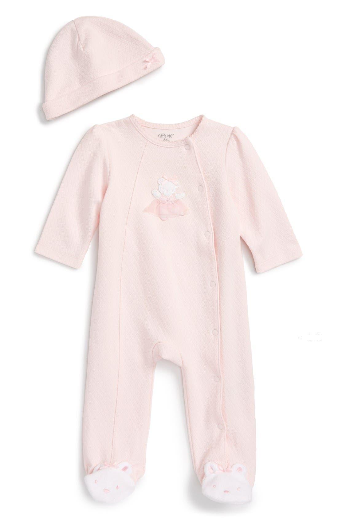 Main Image - Little Me Ballet Bear Footie & Hat Set (Baby Girls)