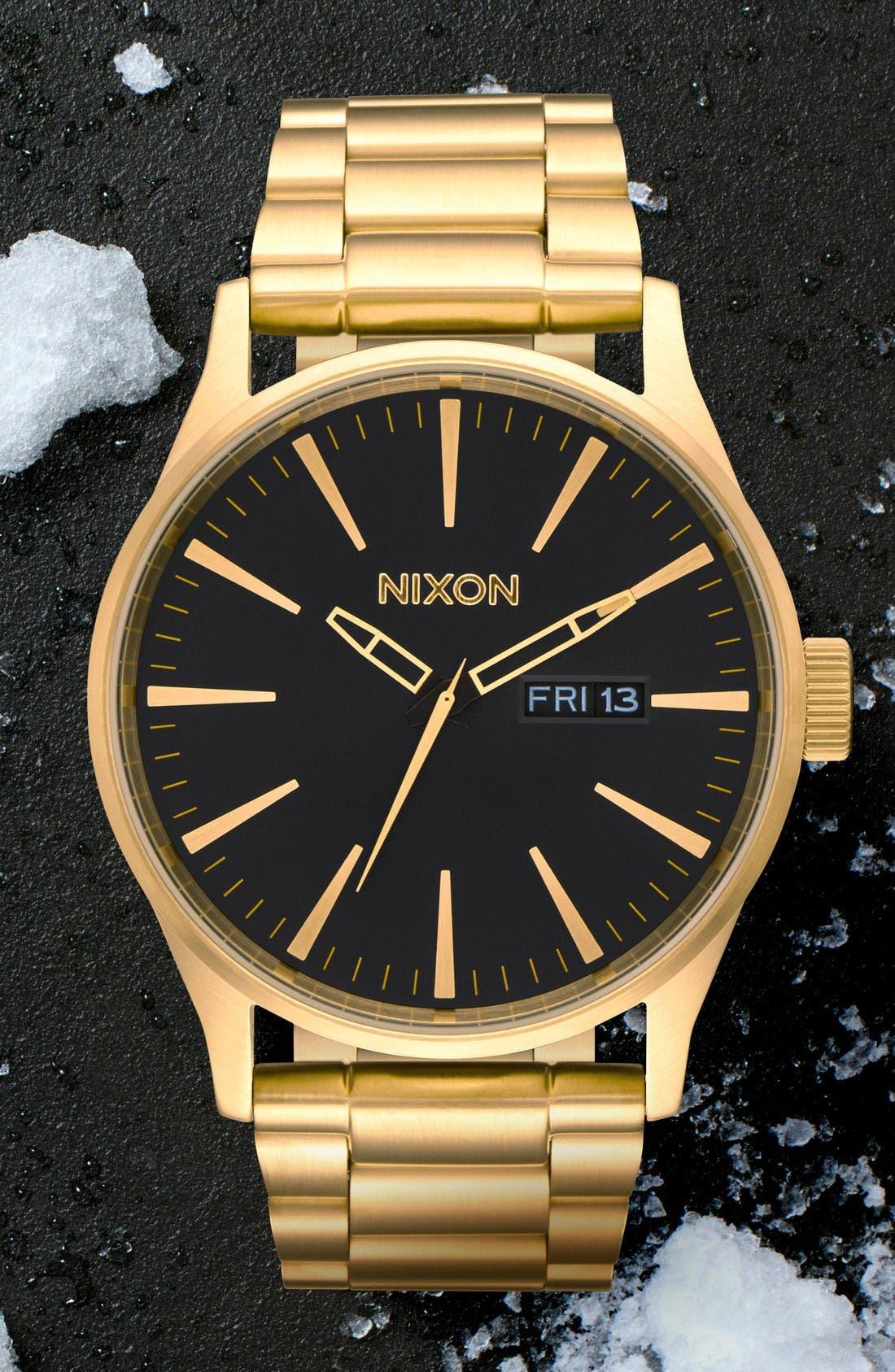 Sentry Bracelet Watch, 42mm,                             Alternate thumbnail 5, color,                             Gold/ Black