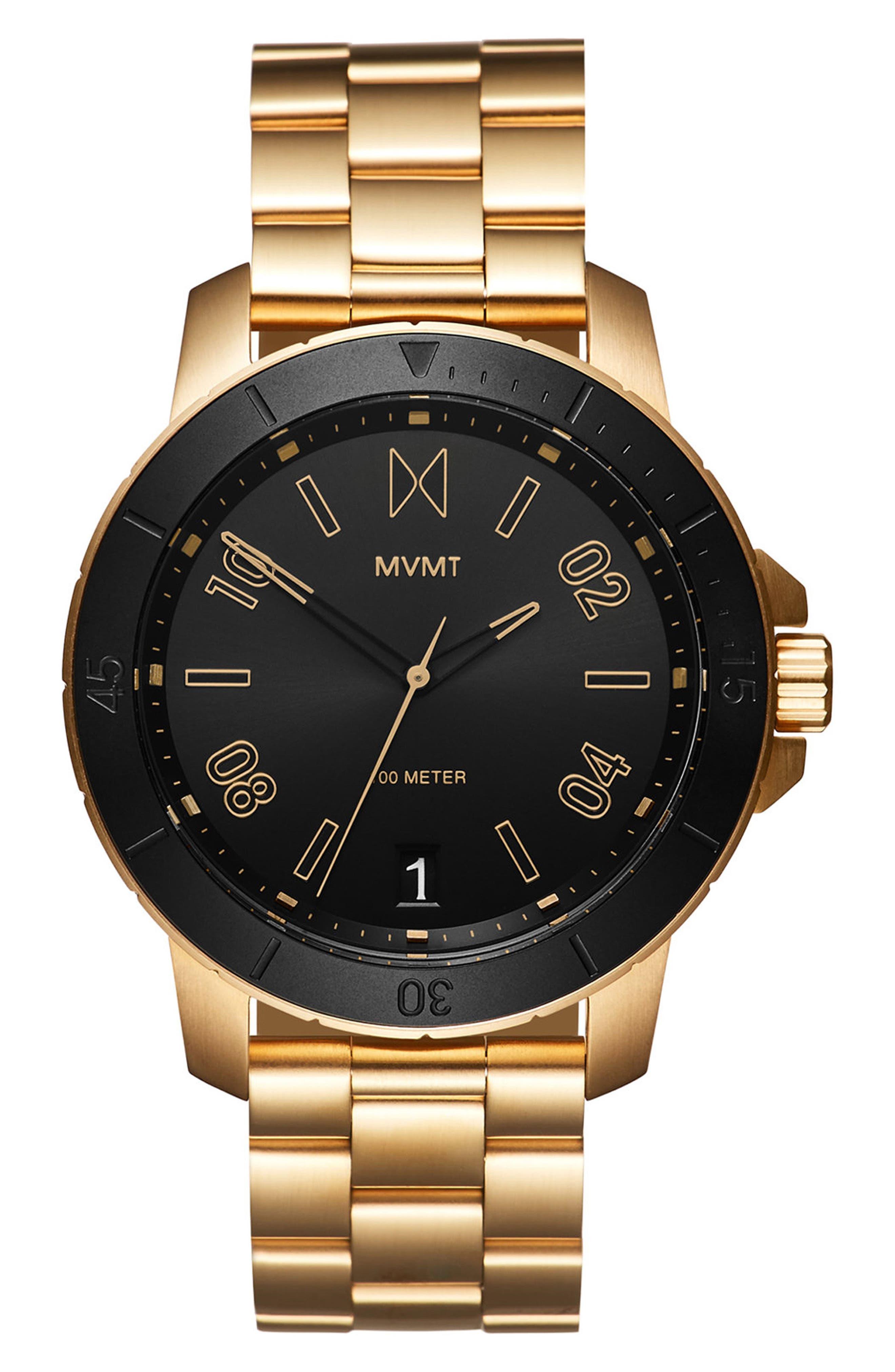 Modern Sport Bracelet Watch, 42mm,                             Main thumbnail 1, color,                             Black/ Gold