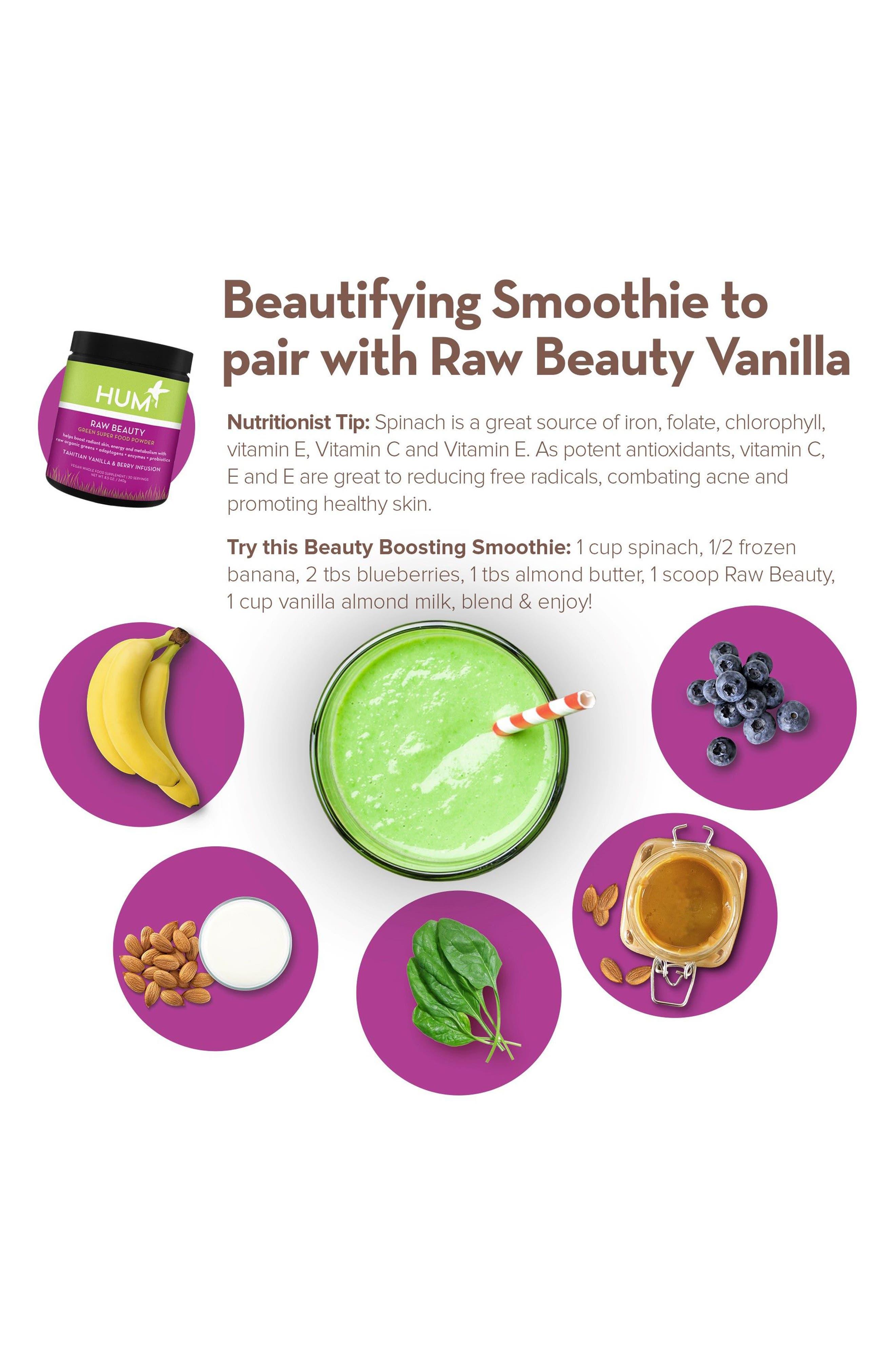 Alternate Image 4  - Hum Nutrition Raw Beauty Tahitian Vanilla & Berry Infusion Skin & Energy Green Superfood Powder