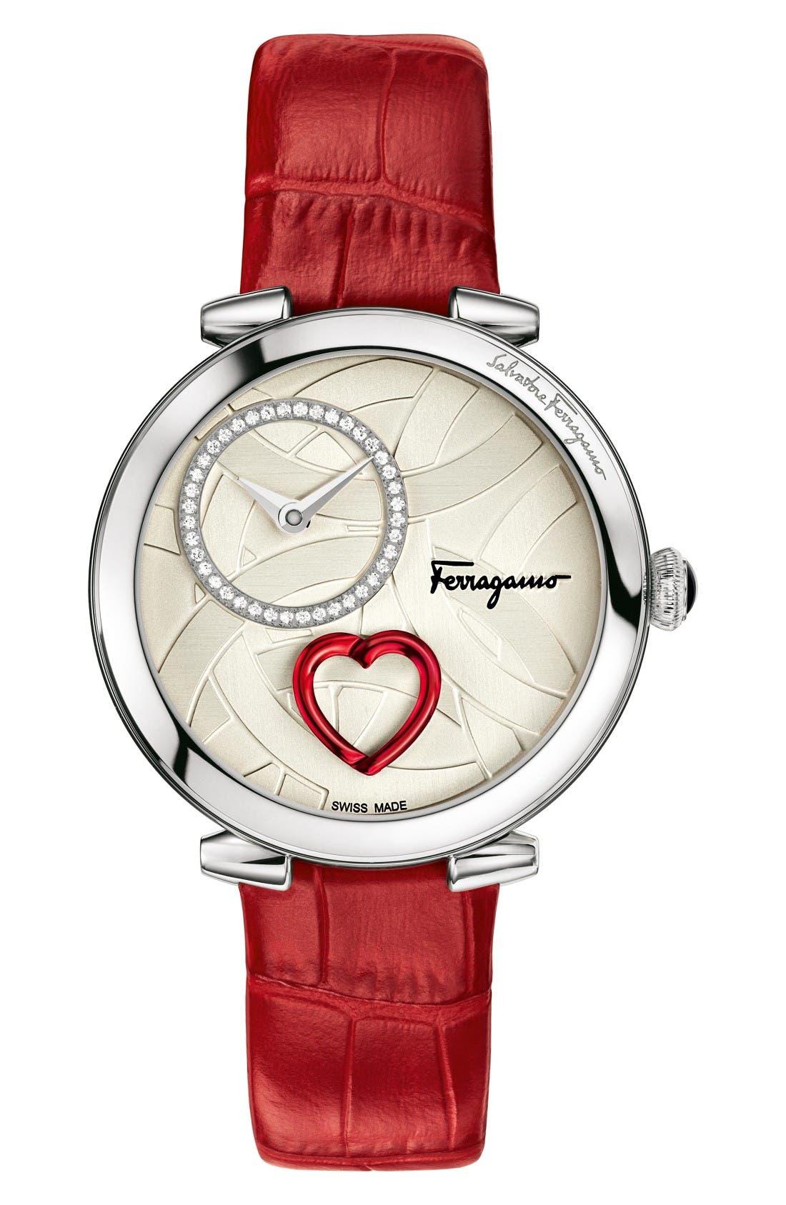 SALVATORE FERRAGAMO Cuore Leather Strap Watch, 39mm