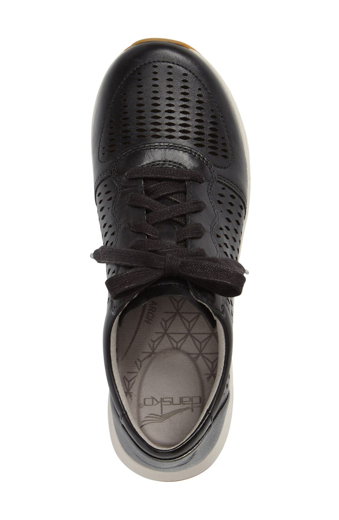 Charlie Perforated Sneaker,                             Alternate thumbnail 3, color,                             Black Leather