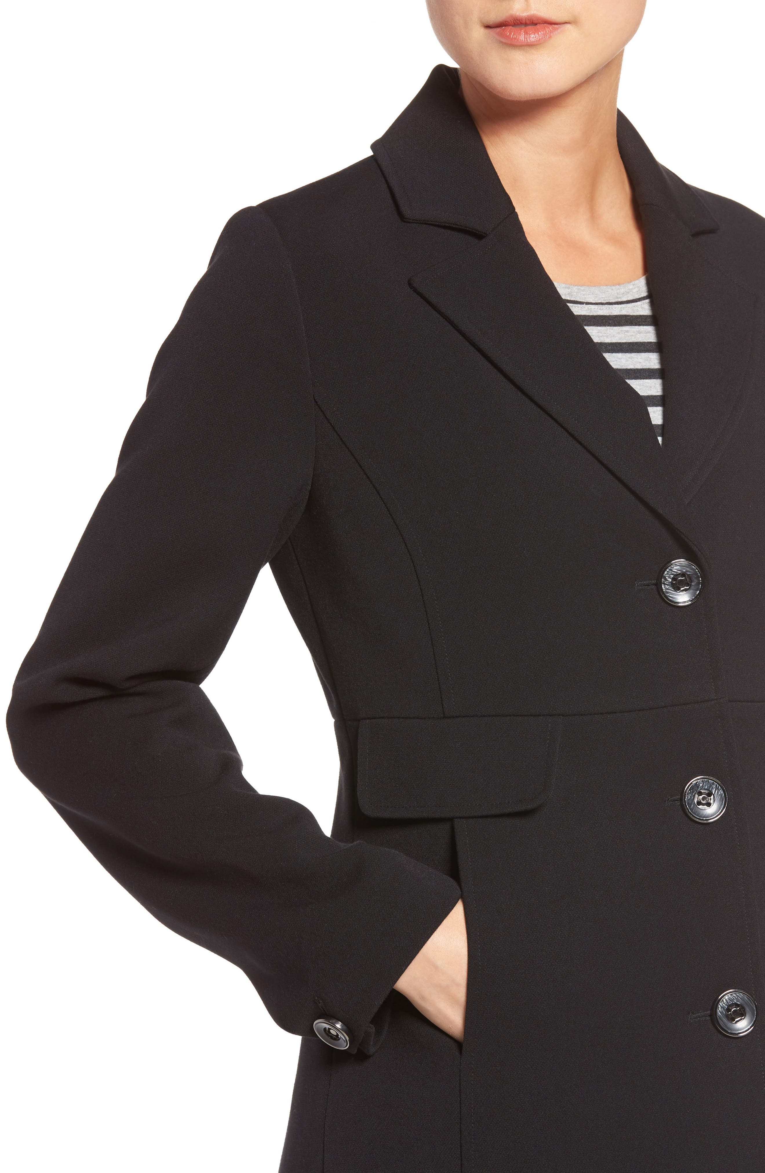 Alternate Image 4  - Kenneth Cole A-Line Ponte Coat (Regular & Petite)