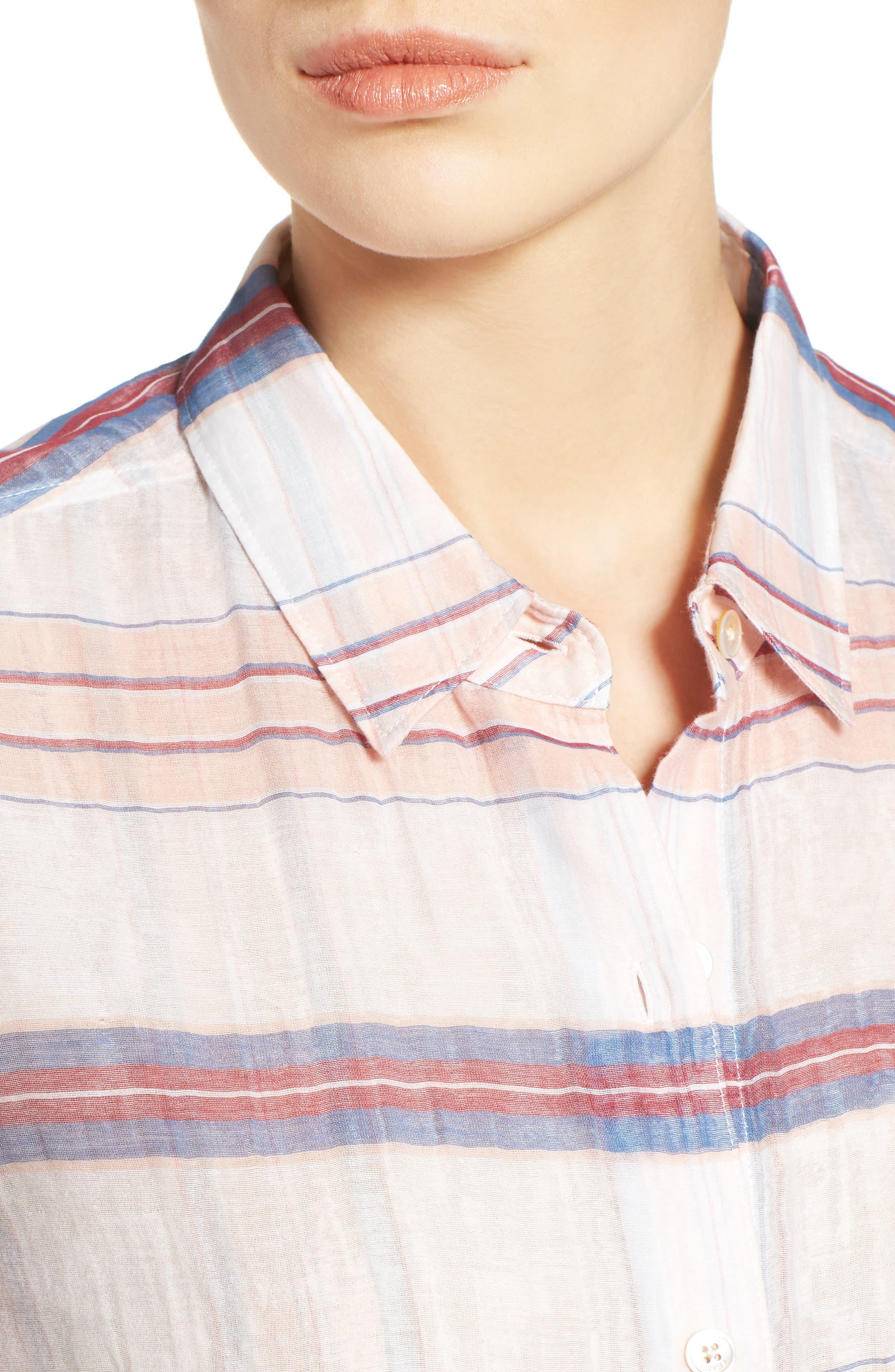 Costas Stripe Cotton & Silk Shirt,                             Alternate thumbnail 4, color,                             White