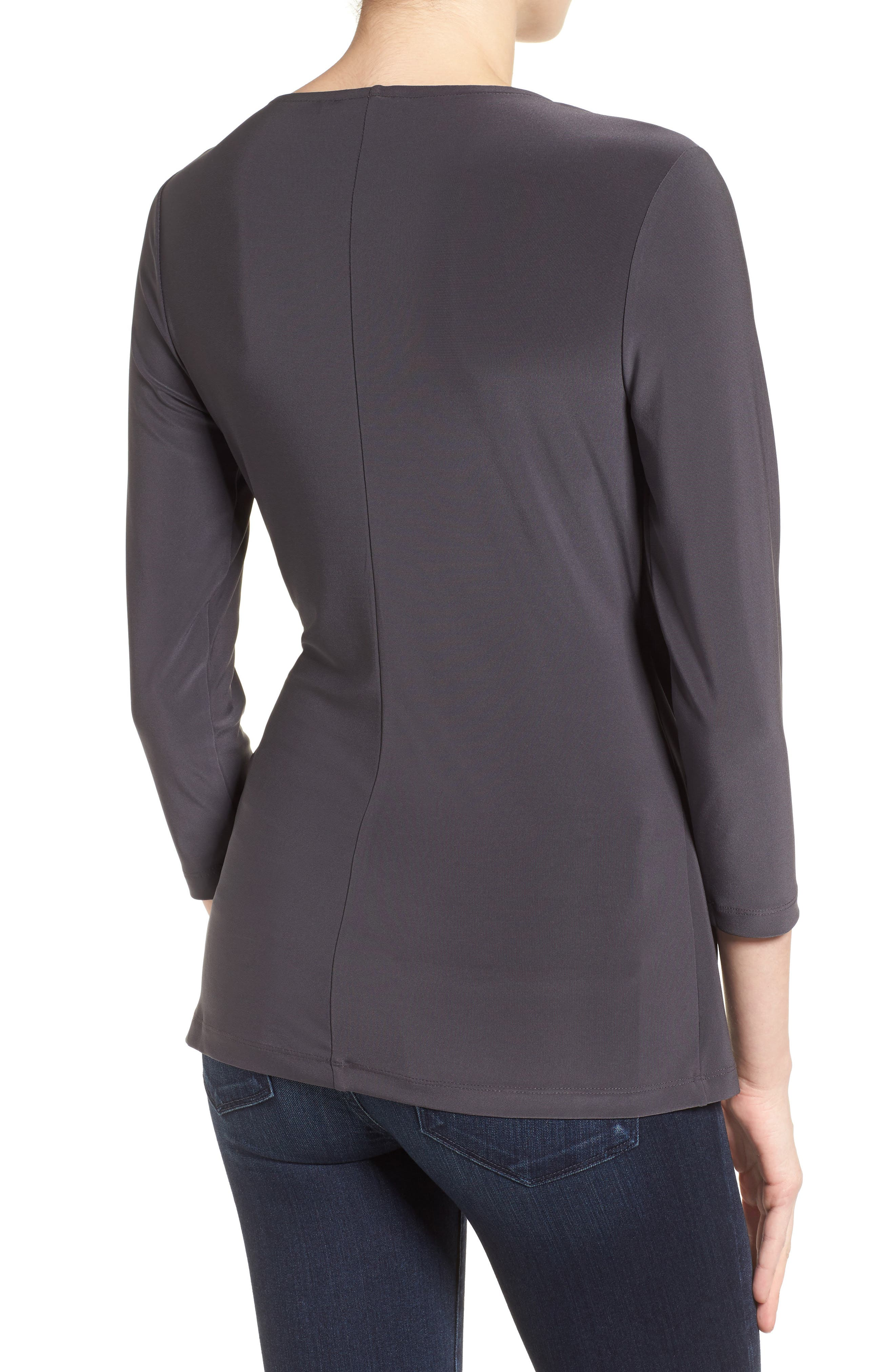 Solid Faux Wrap Top,                             Alternate thumbnail 2, color,                             Phantom