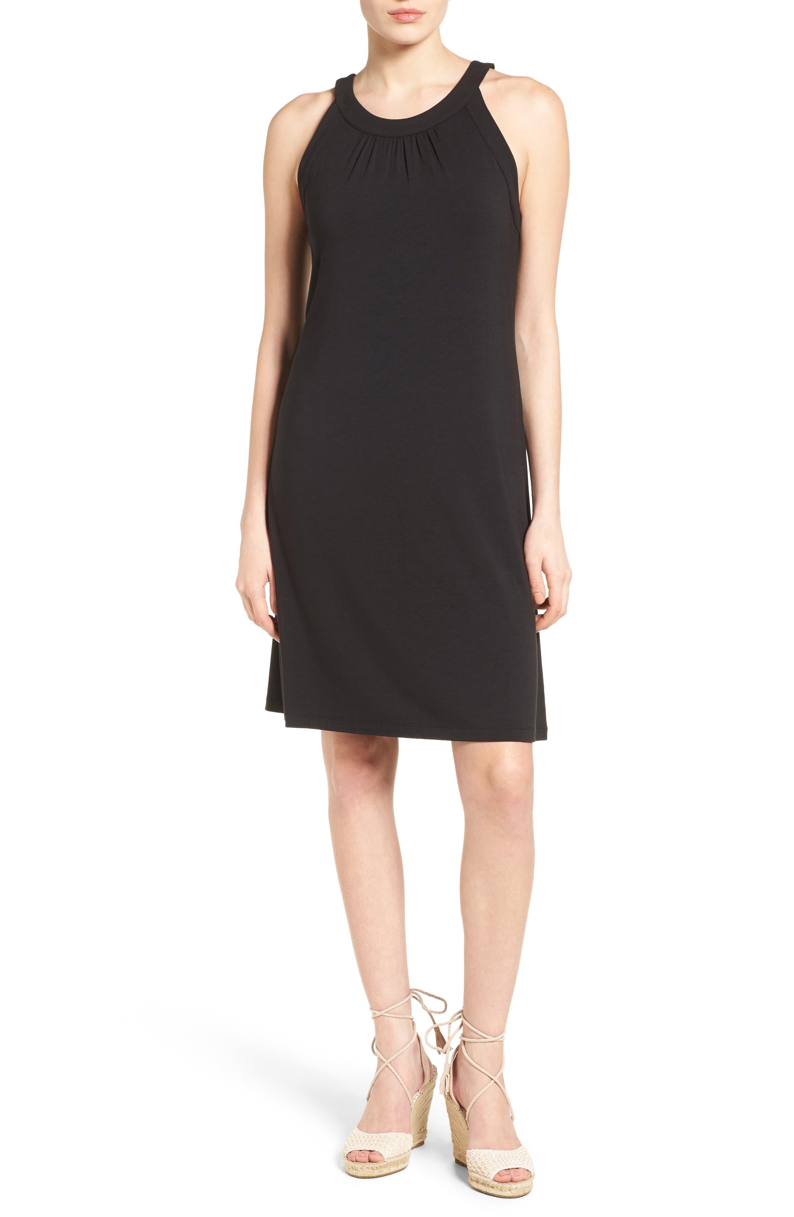 Tambour Shift Dress,                         Main,                         color, Black