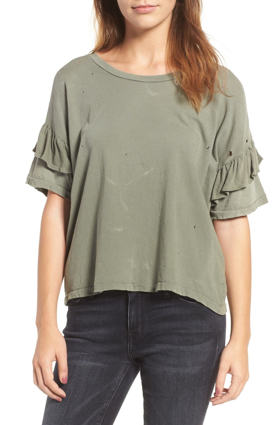 The Ruffle Roadie Tee,                             Main thumbnail 1, color,                             Dusty Olive Destroy