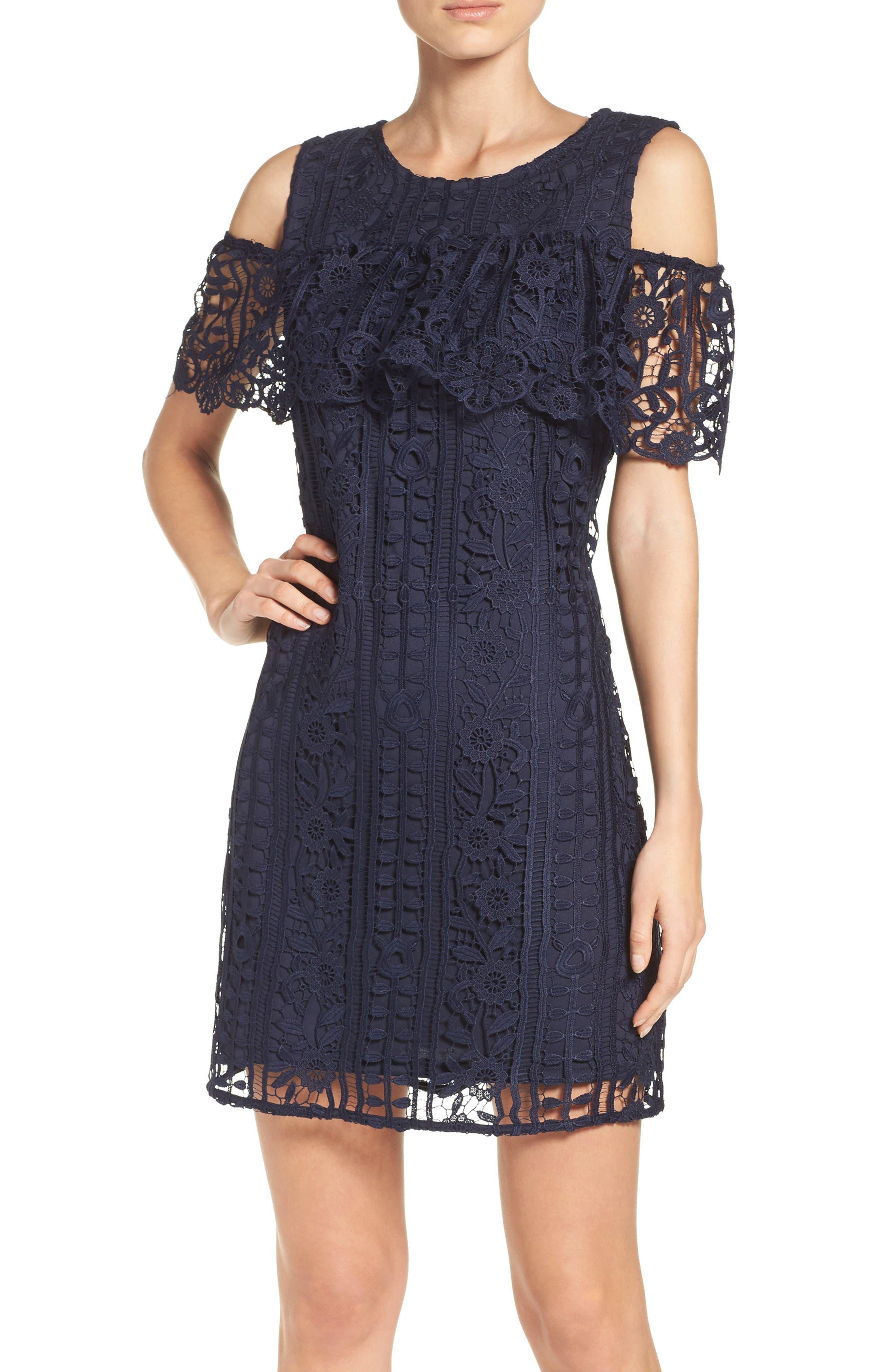 Ruffle Sheath Dress,                         Main,                         color, Navy