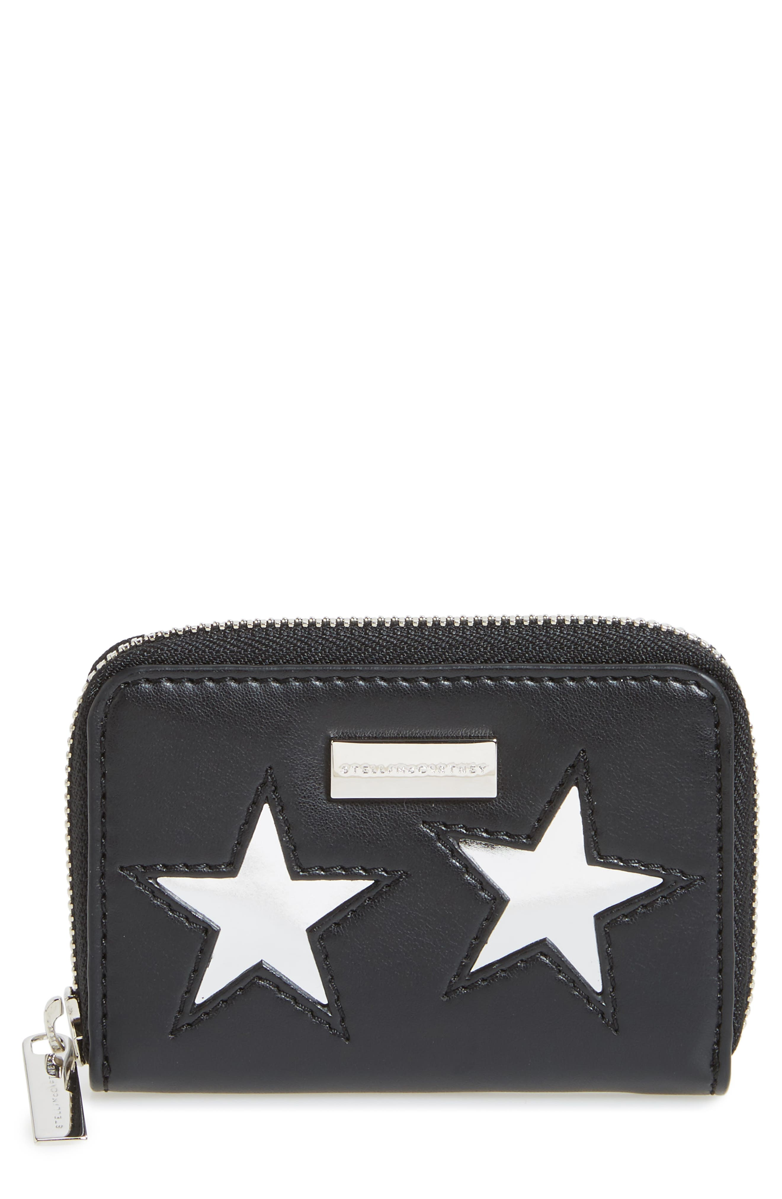 Lamé Stars Faux Leather Coin Purse,                             Main thumbnail 1, color,                             Black