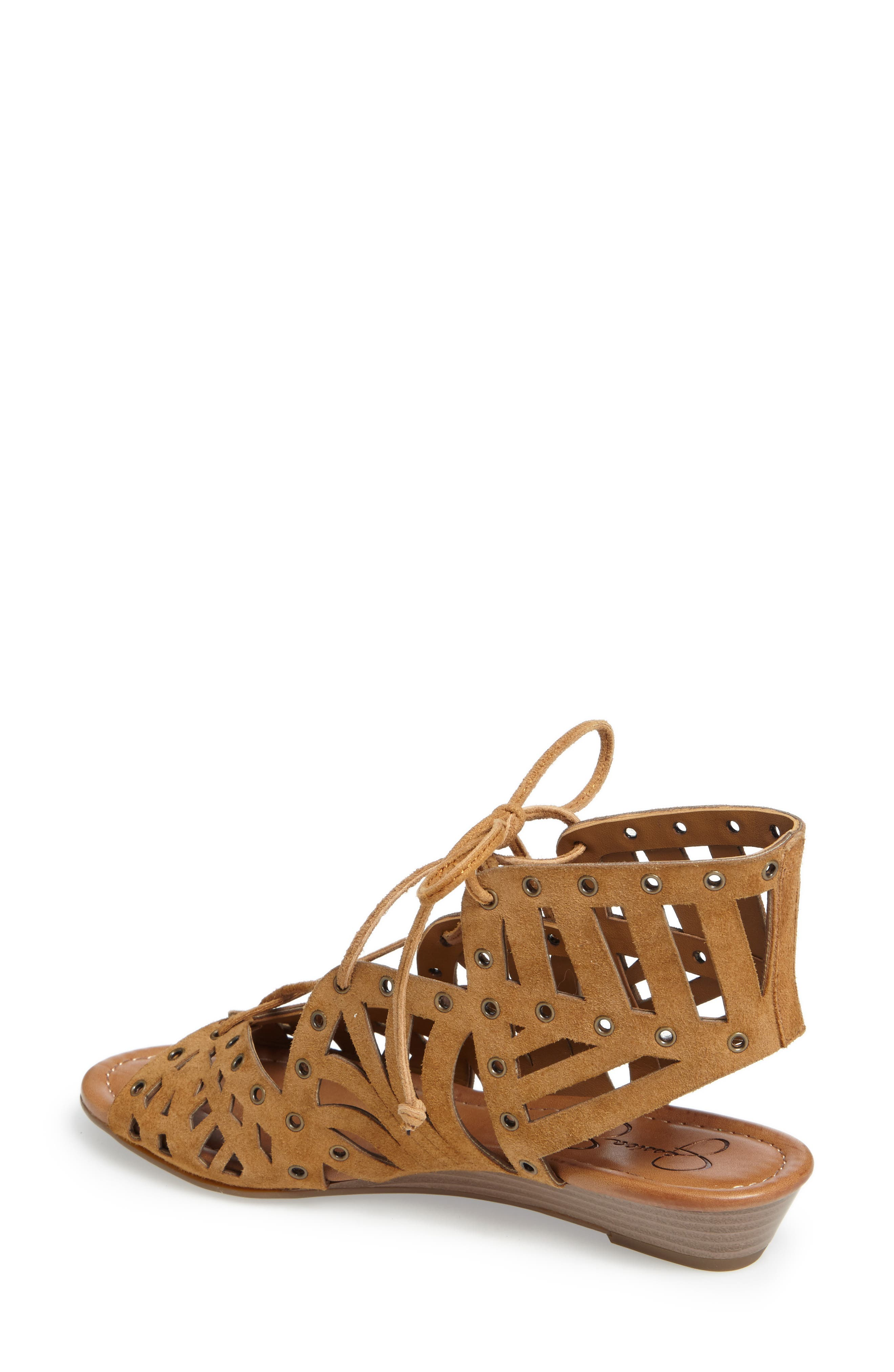Lalaine Ghillie Lace Sandal,                             Alternate thumbnail 2, color,                             Honey Brown Suede