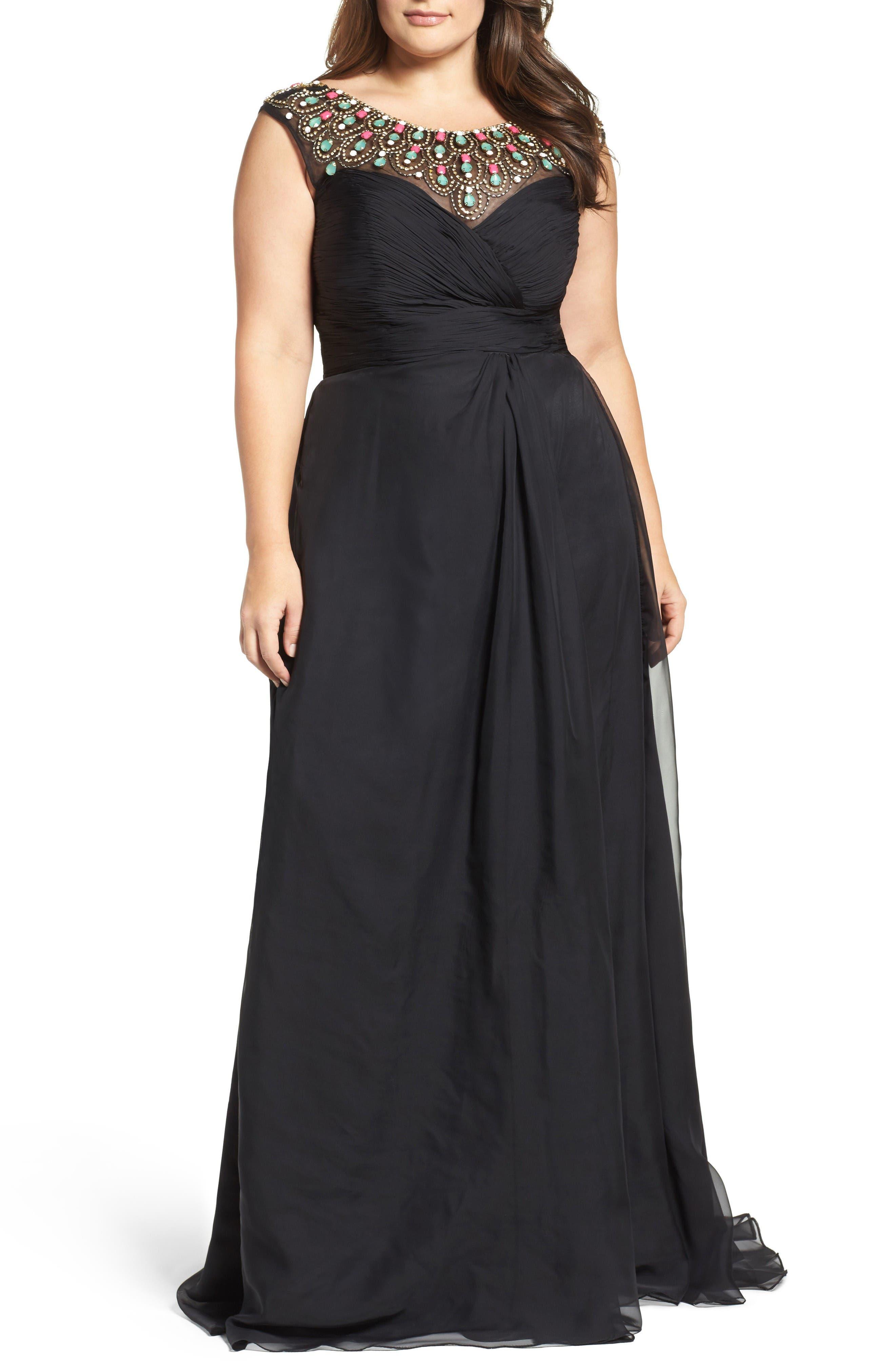 Embellished Goddess Gown,                         Main,                         color, Black Multi