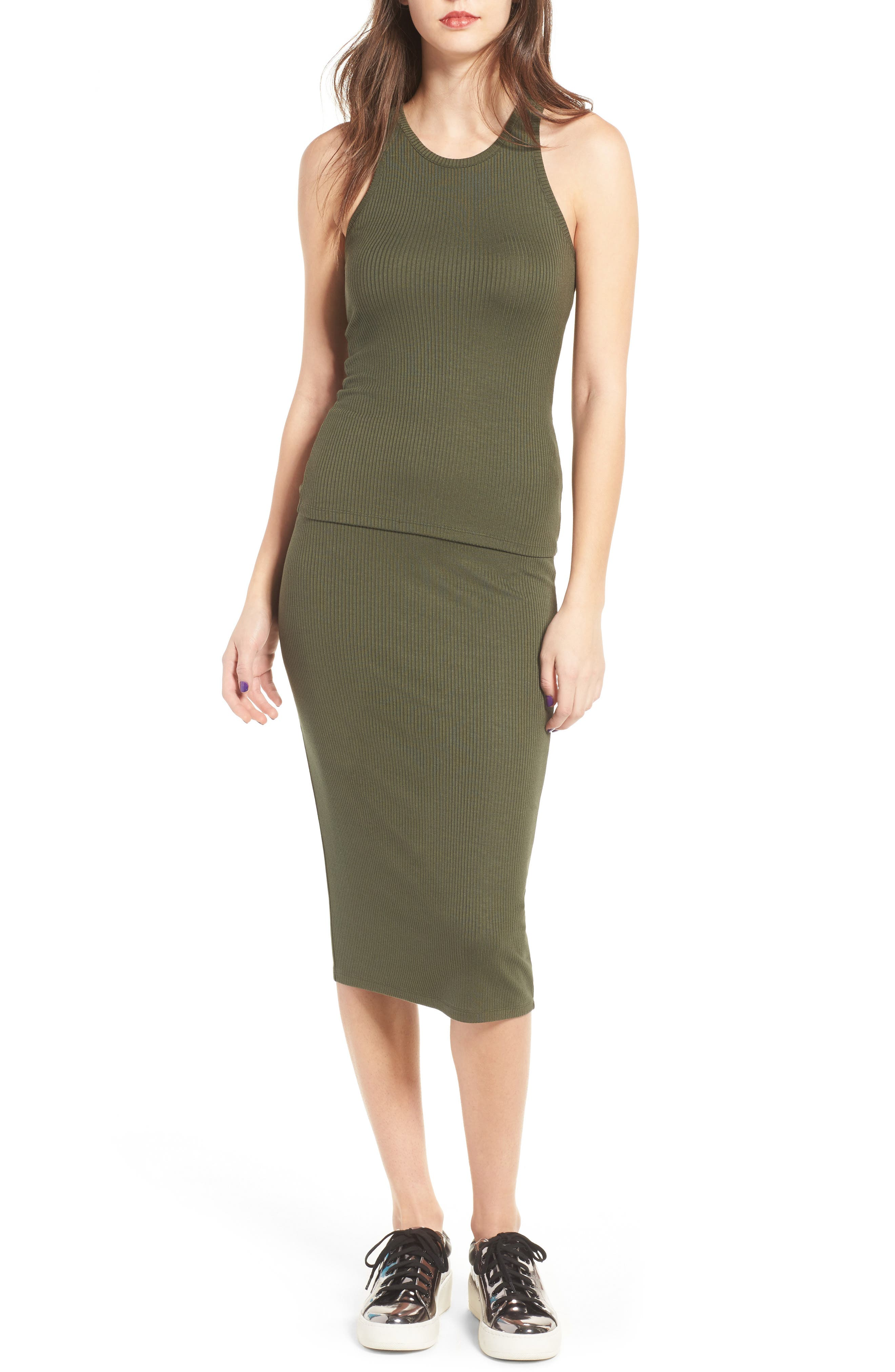 Rib Midi Skirt,                             Alternate thumbnail 2, color,                             Olive Sarma