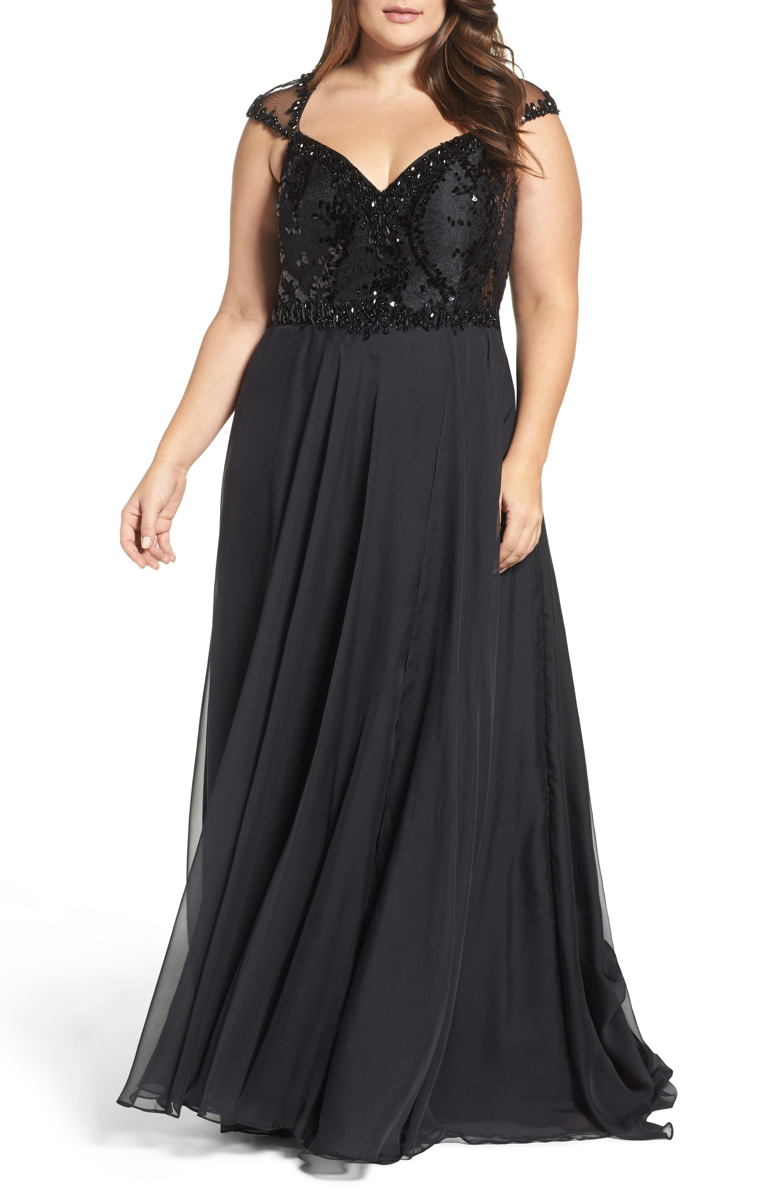 Beaded Lace Bodice Gown,                             Main thumbnail 1, color,                             Black