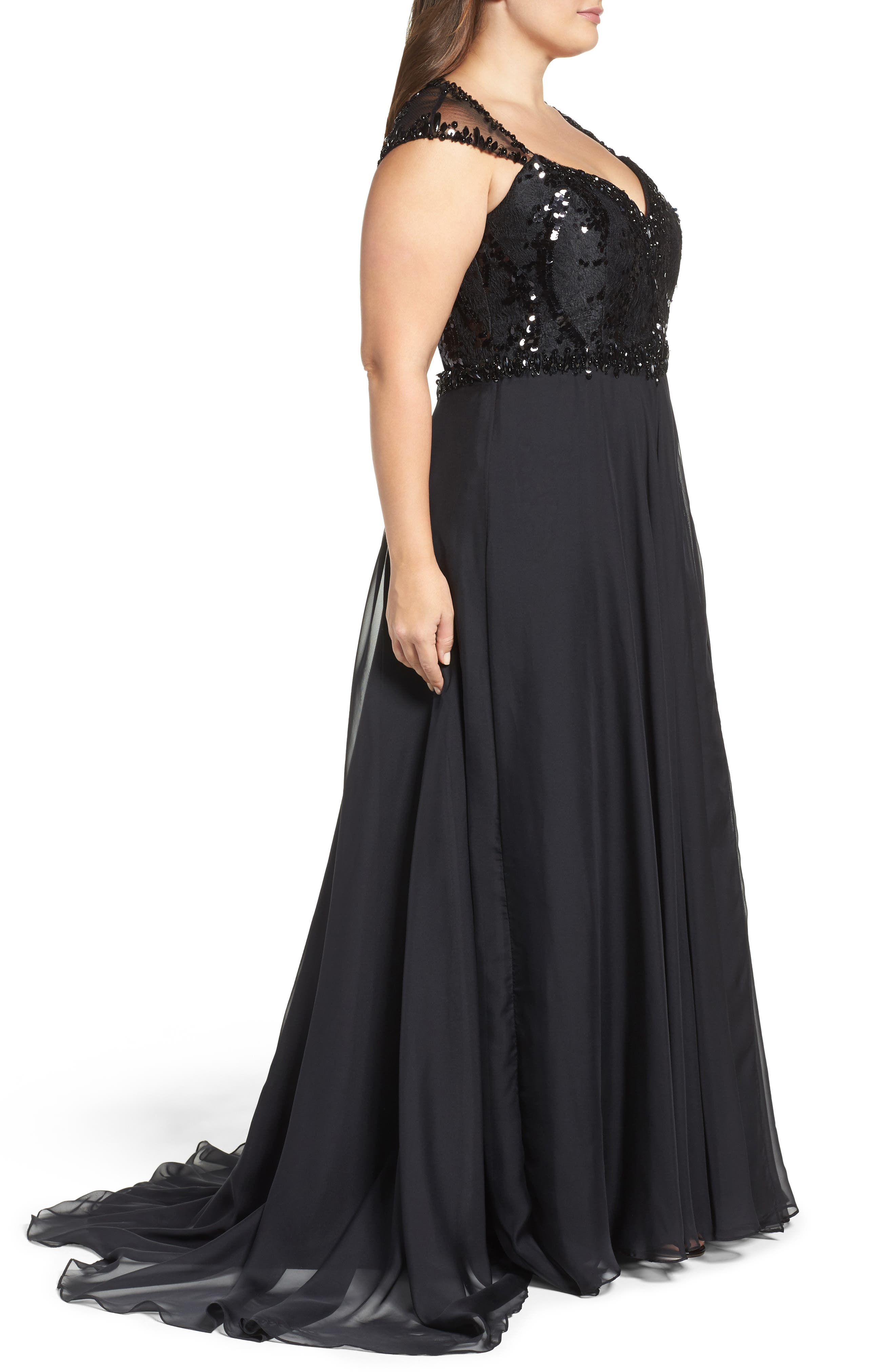 Beaded Lace Bodice Gown,                             Alternate thumbnail 3, color,                             Black