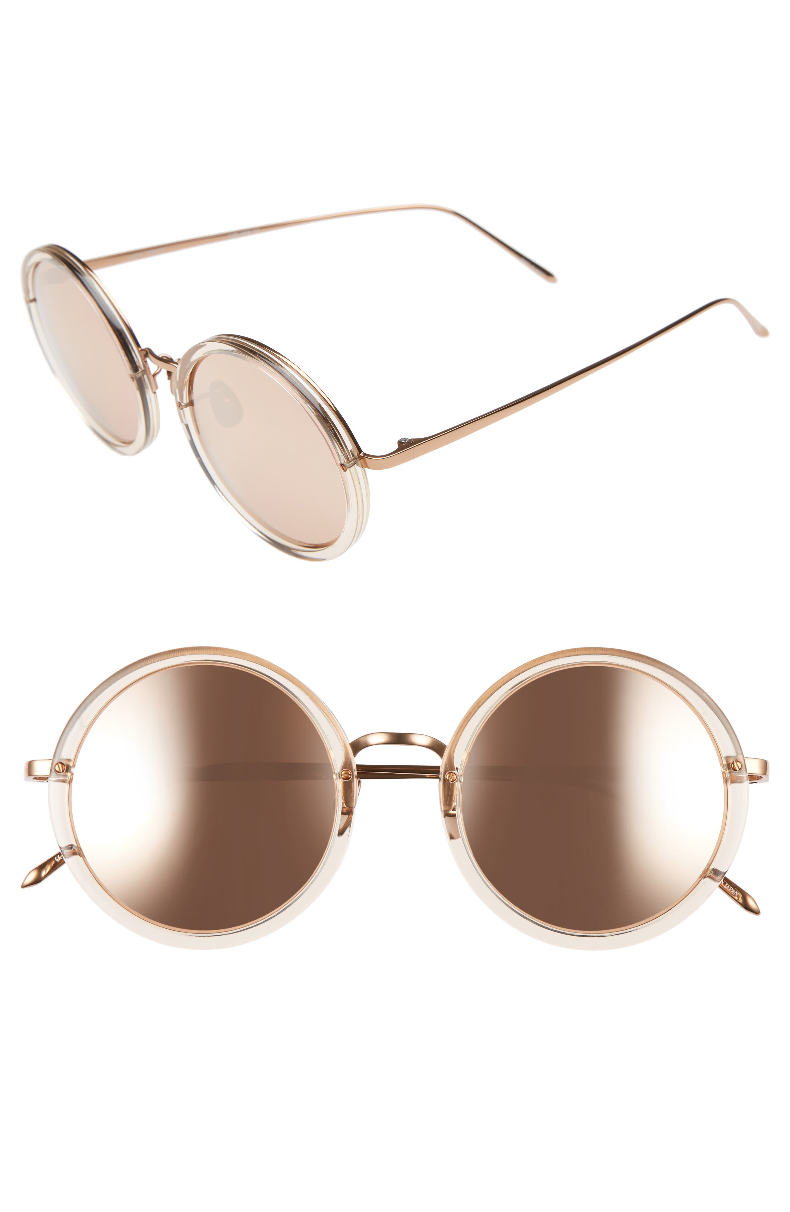 51mm Round Sunglasses,                             Main thumbnail 1, color,                             Ash/ Rose Gold