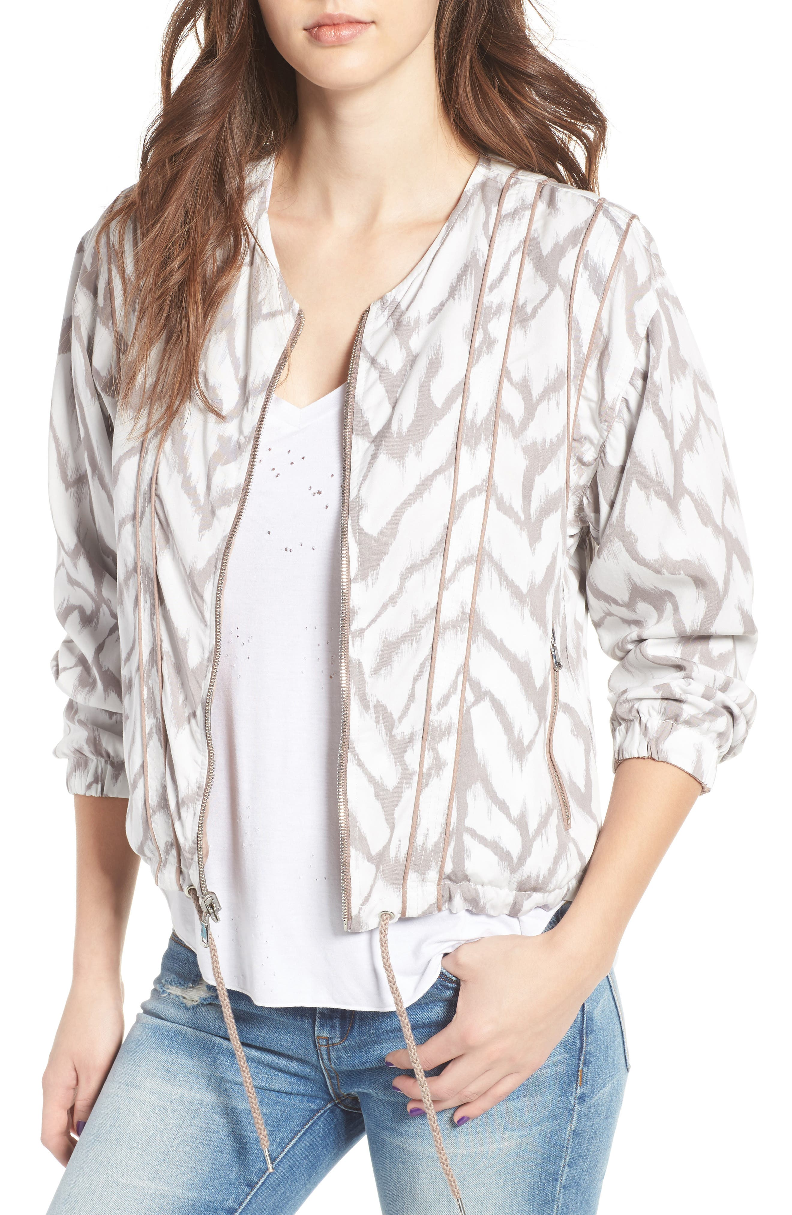 Deep Truth Reversible Jacket,                             Main thumbnail 1, color,                             Deep Truth Taupe/ White Print