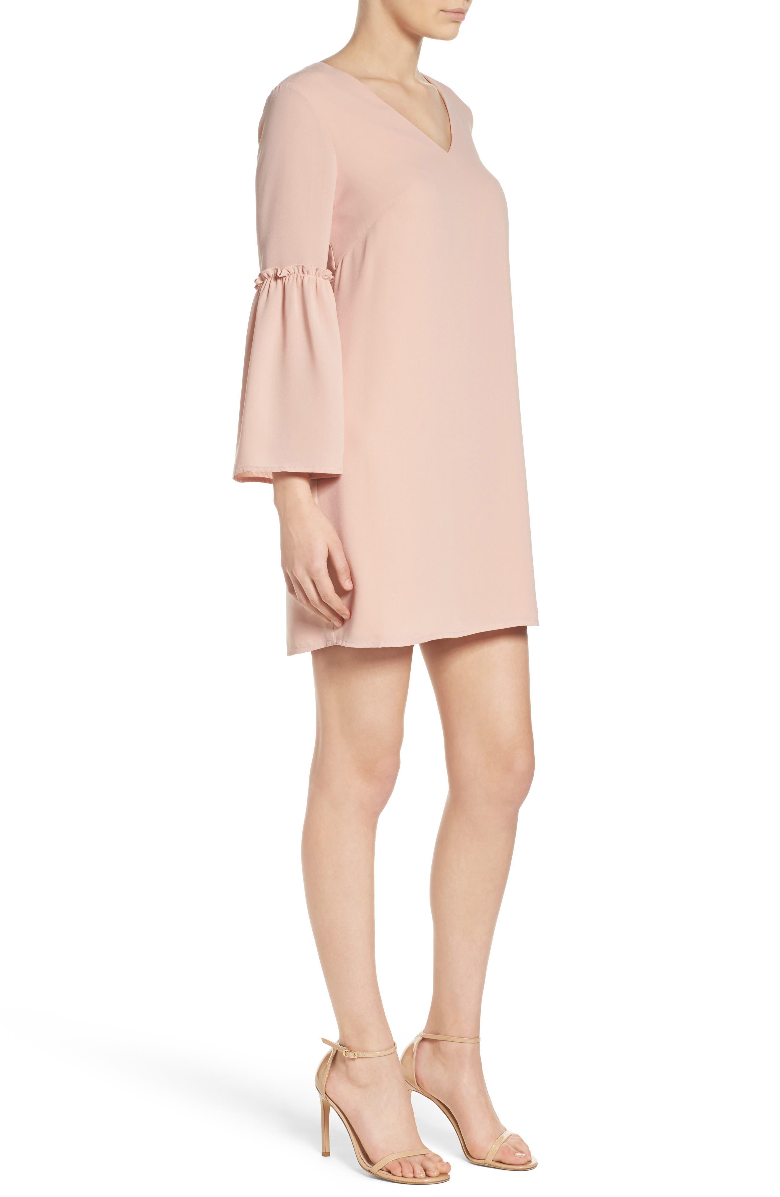 Ruffle Bell Sleeve Dress,                             Alternate thumbnail 3, color,                             Pink Dust
