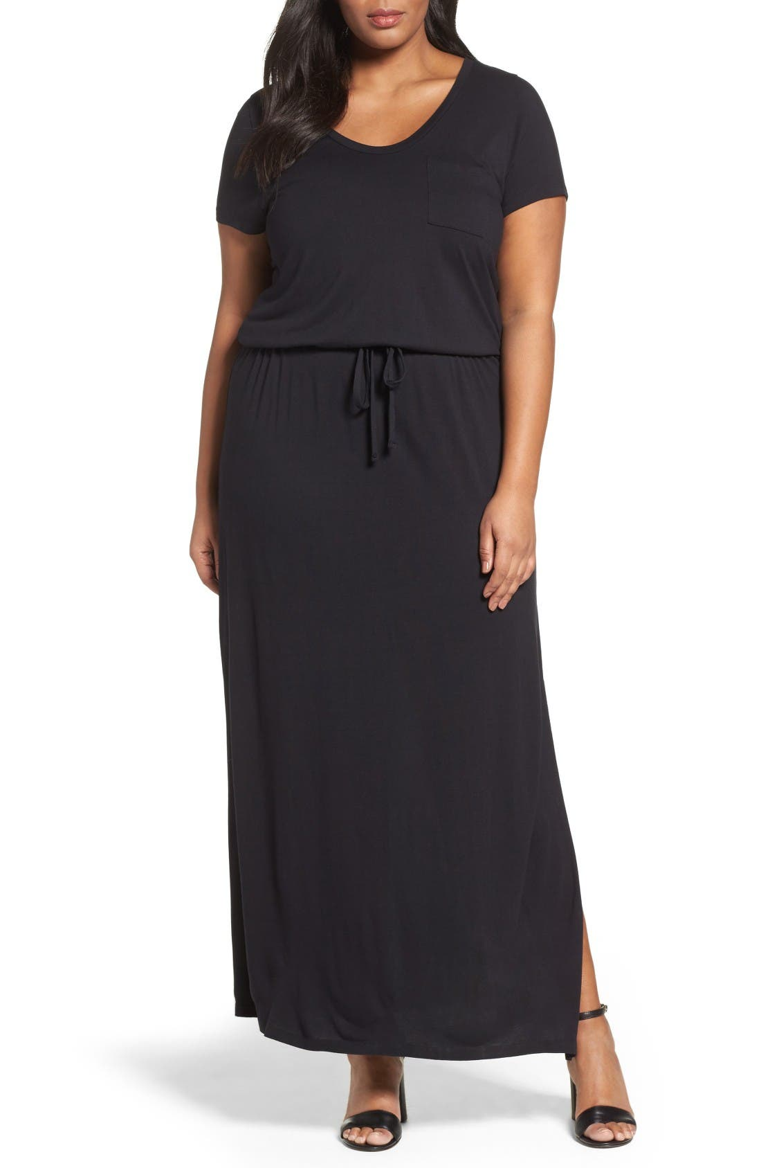 Knit Drawstring Waist Maxi Dress,                             Main thumbnail 1, color,                             Black