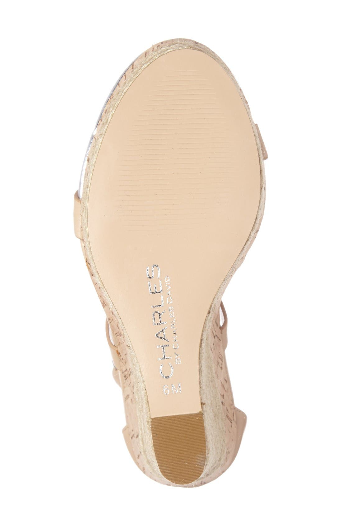 Aden Platform Wedge Sandal,                             Alternate thumbnail 4, color,                             Nude Leather