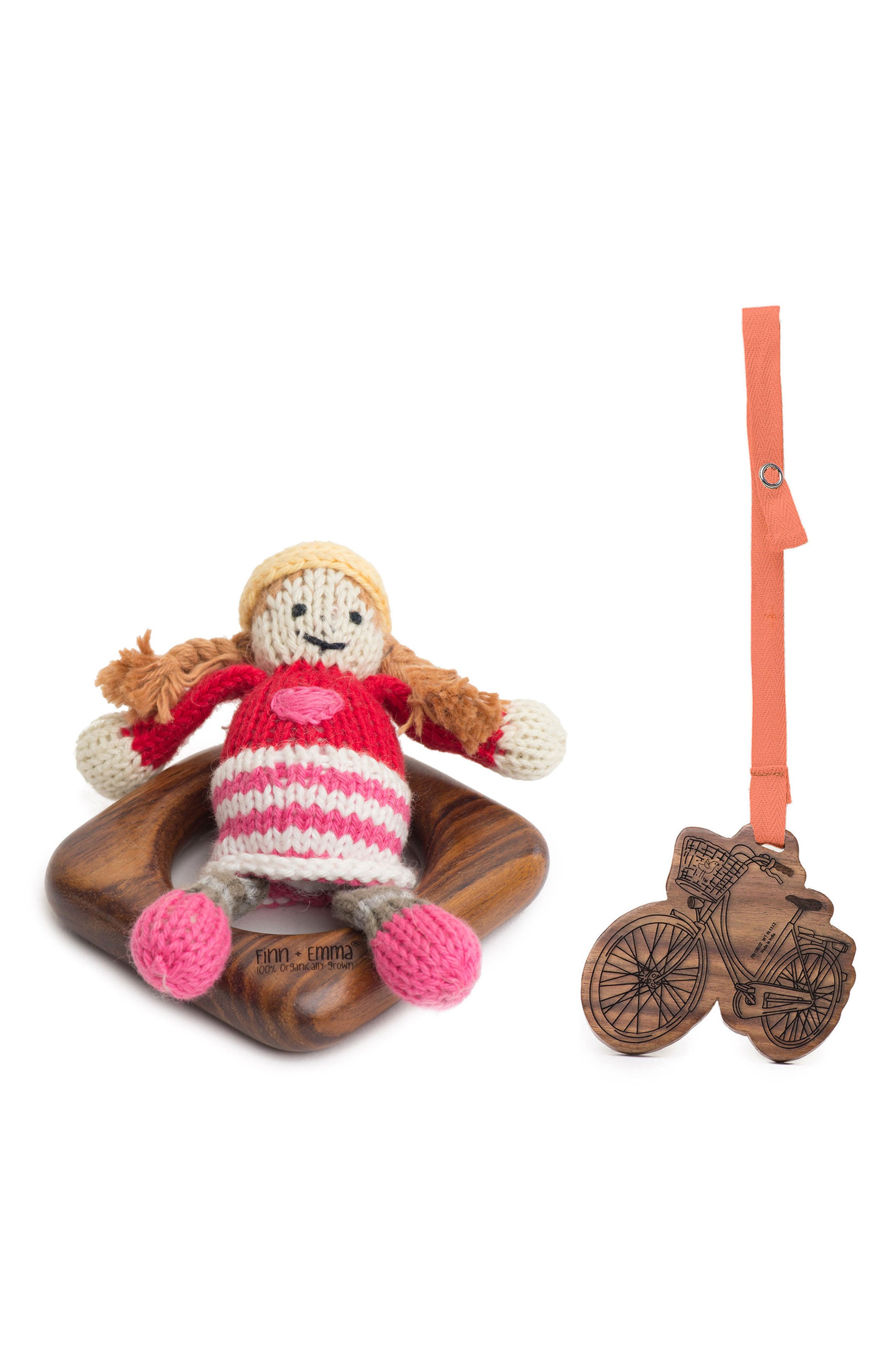 Main Image - Finn + Emma Clementine Teething Ring, Rattle & Stroller Buddy Set