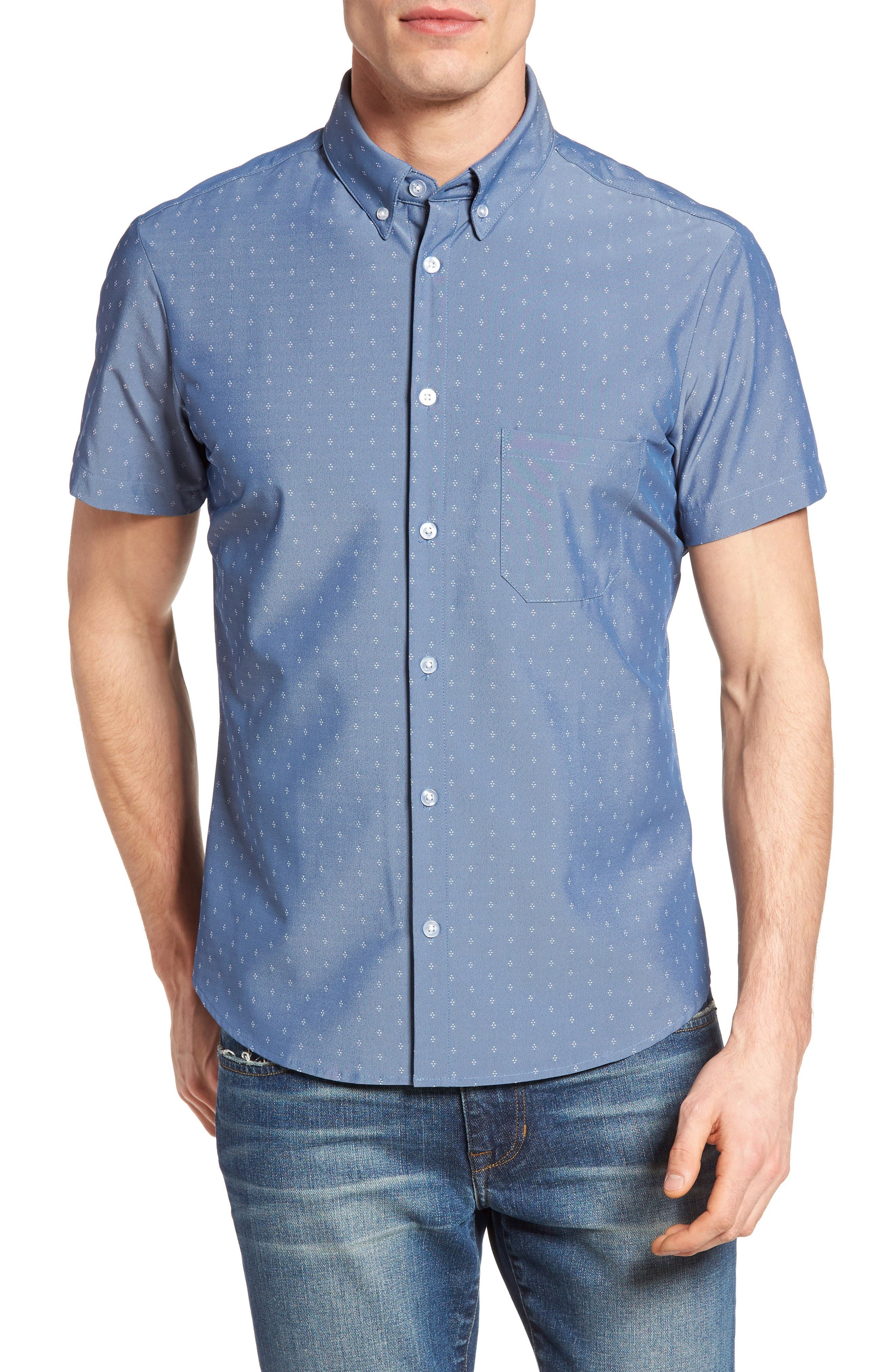 Mizzen+Main Kingston Poseidon Slim Fit Print Performance Sport Shirt