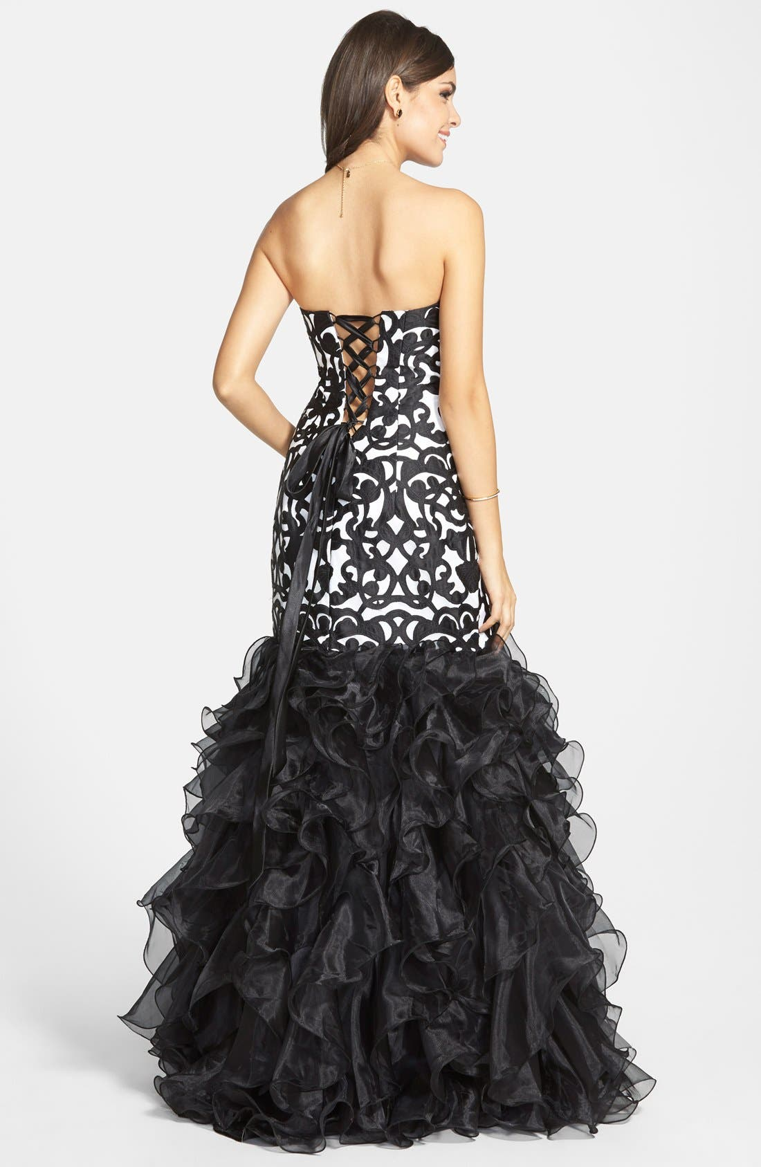 Alternate Image 2  - Steppin Out Print Ruffle Mermaid Gown (Juniors)