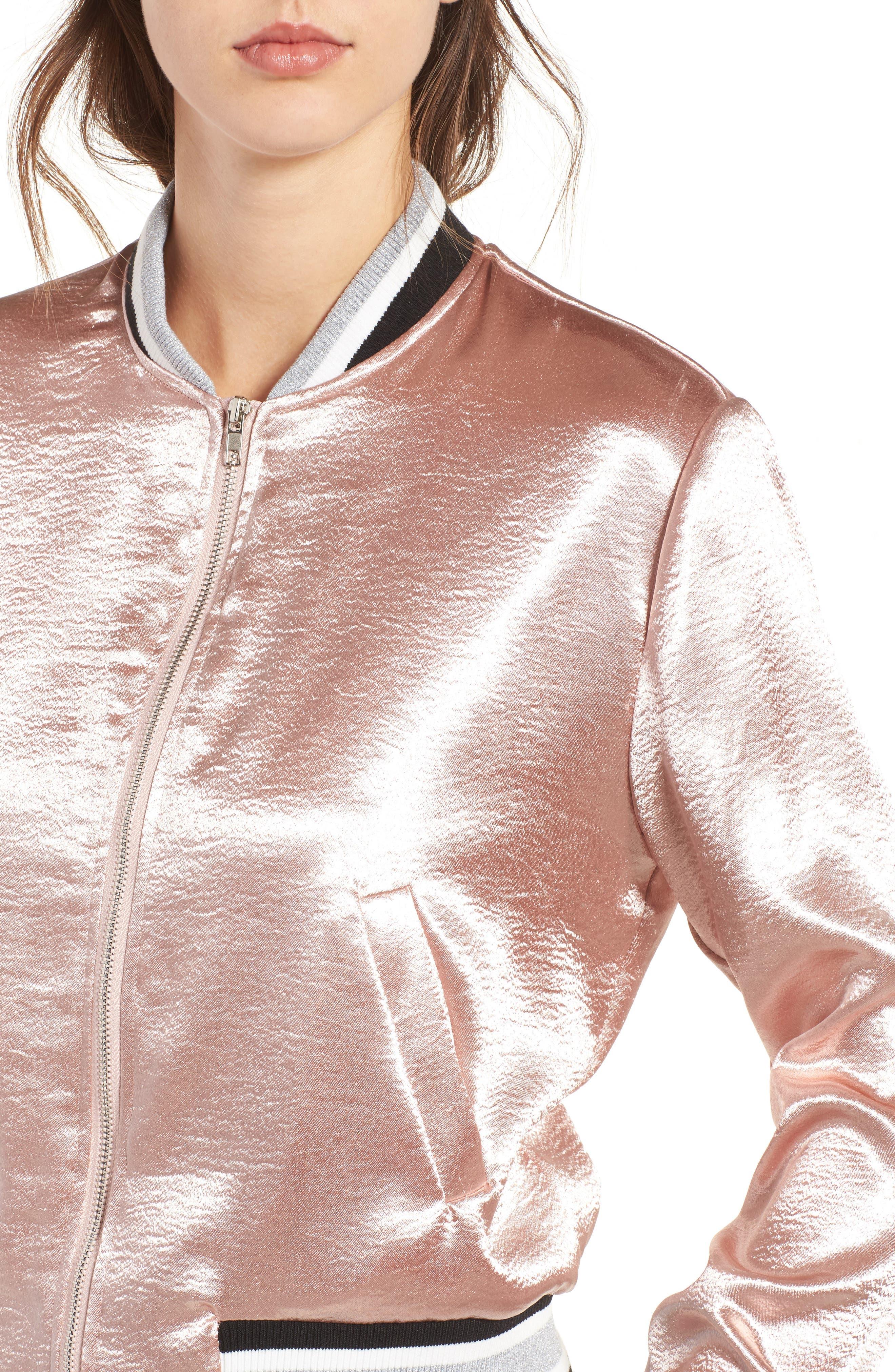 Satin Varsity Jacket,                             Alternate thumbnail 4, color,                             Blush