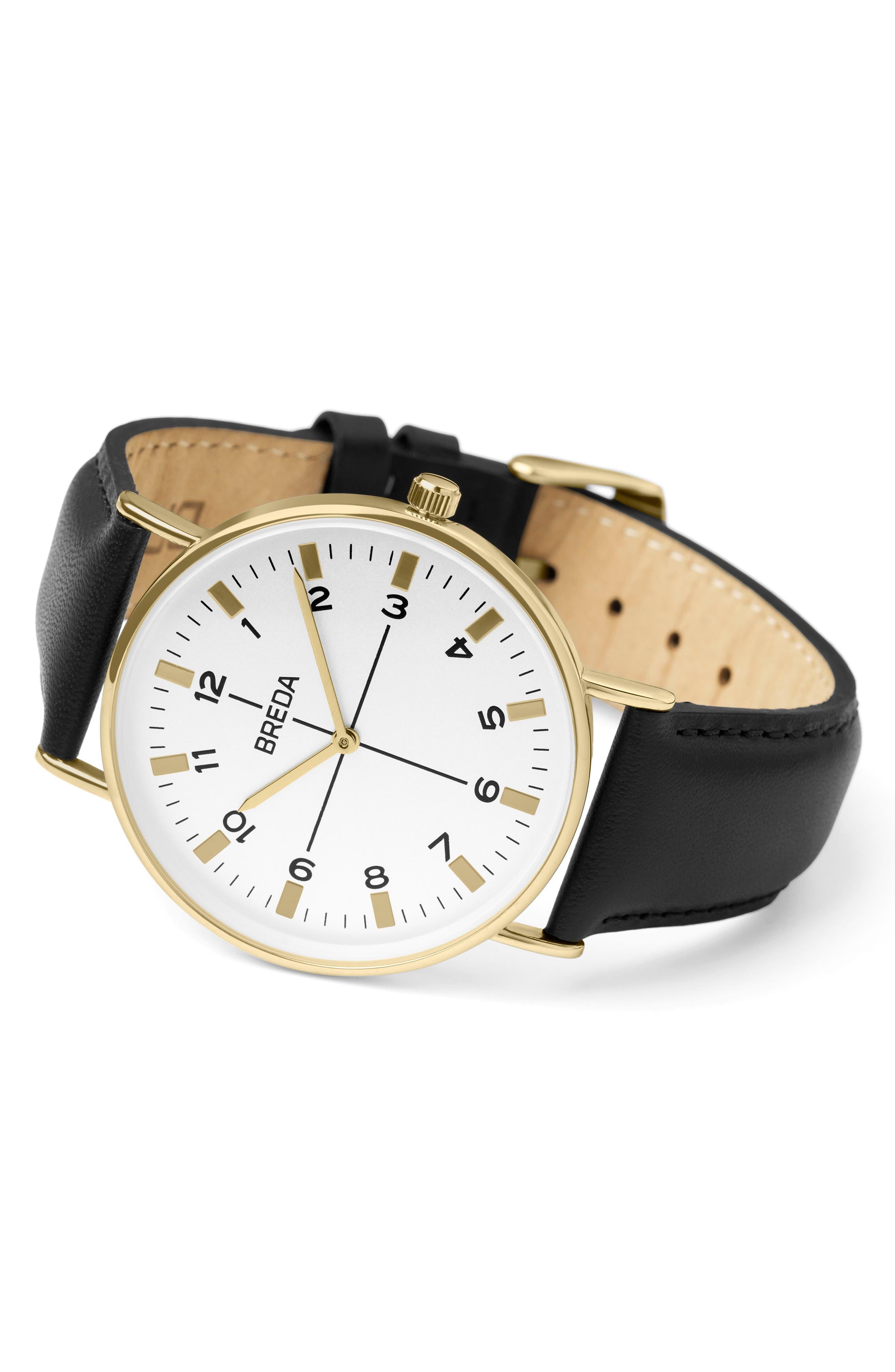 Alternate Image 2  - BREDA Belmont Slim Leather Strap Watch, 40mm