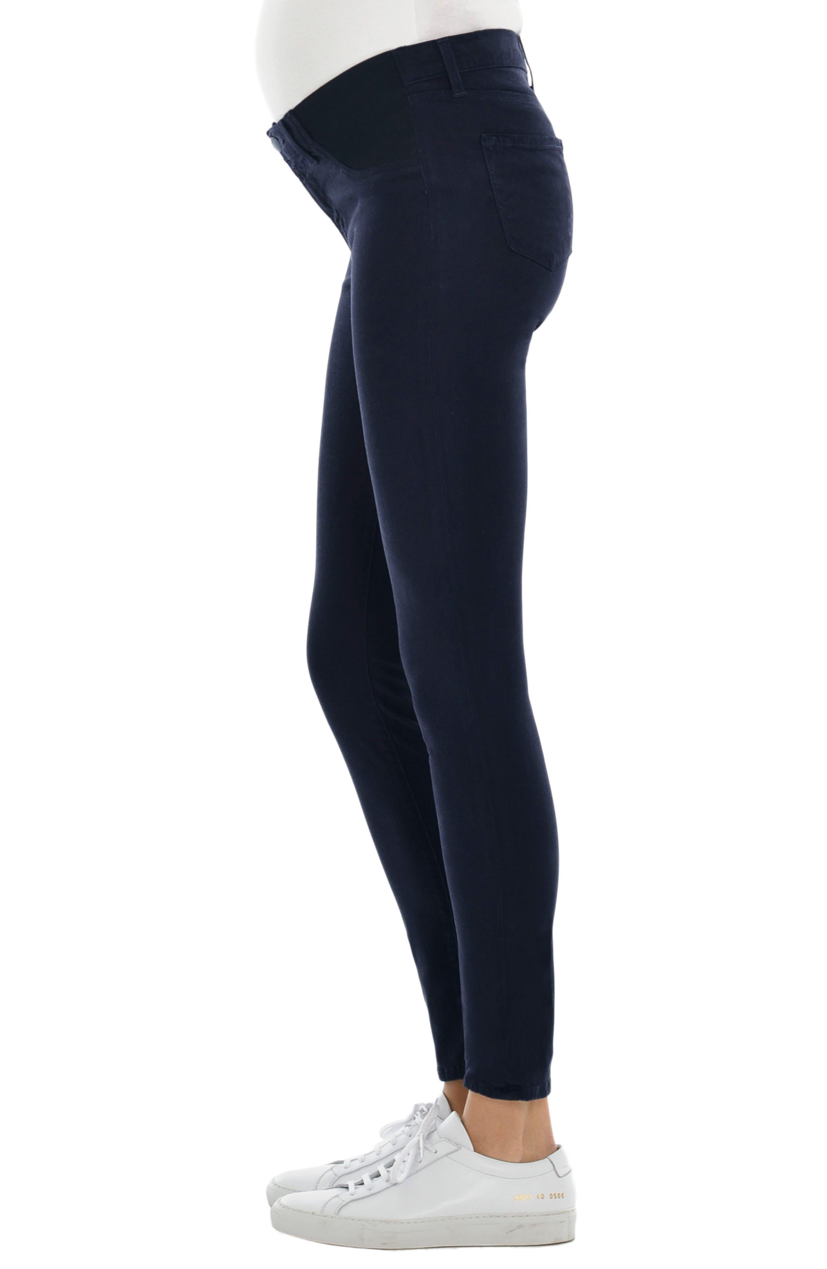 Alternate Image 3  - J Brand Mama J Luxe Sateen Maternity Skinny Jeans (Dark Navy)