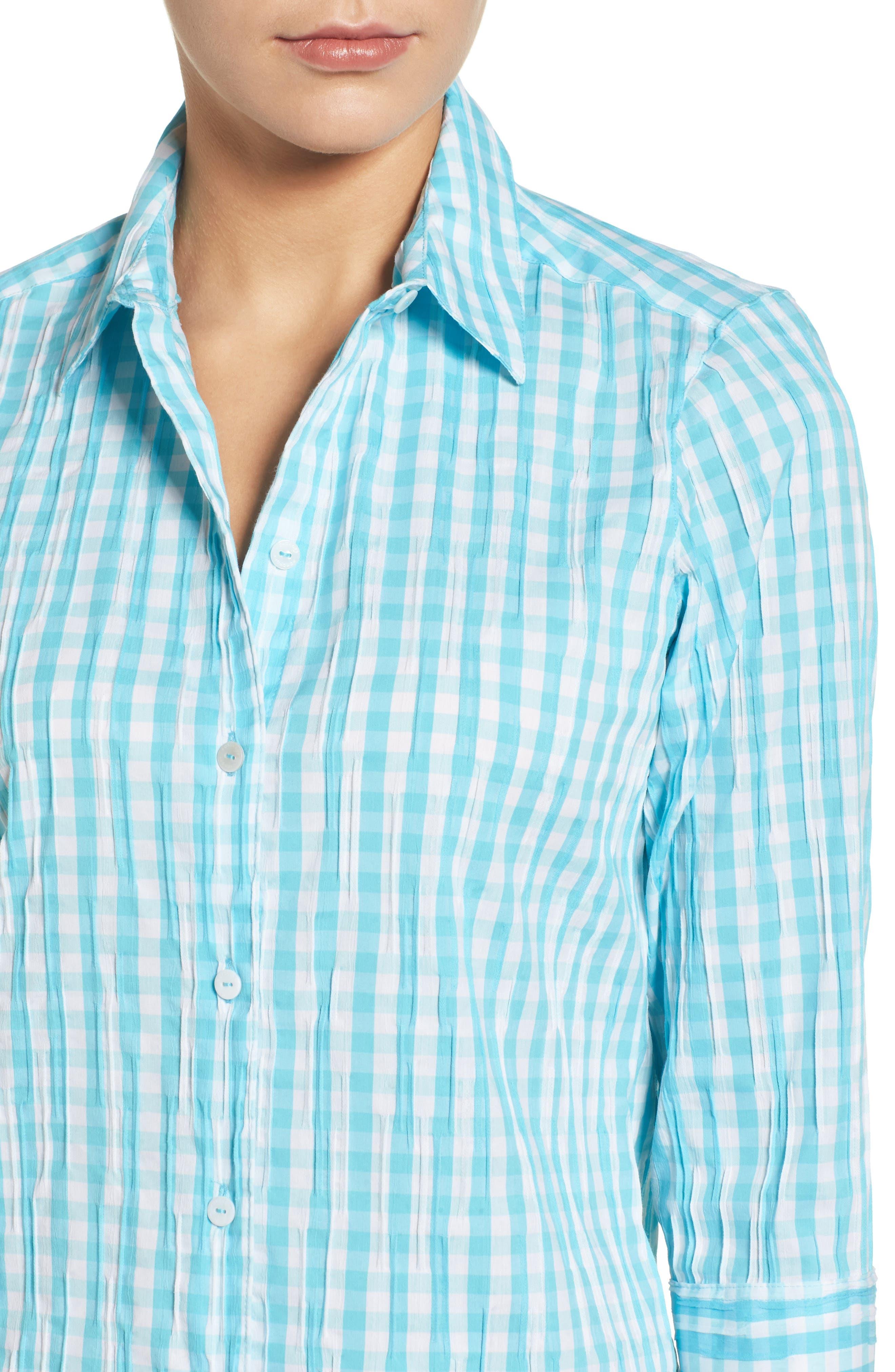 Alternate Image 4  - Foxcroft Crinkled Gingham Shirt (Regular & Petite)