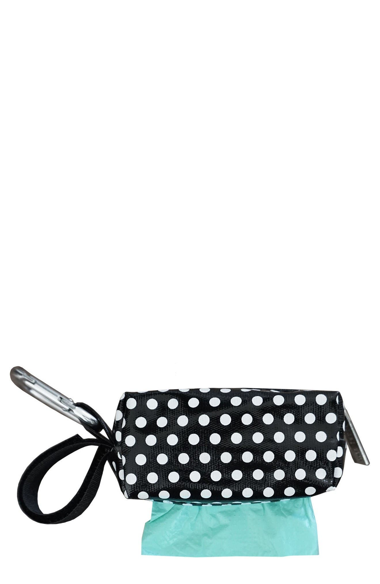 Portable Clip-On Dispenser with Bags,                         Main,                         color, Black Dots