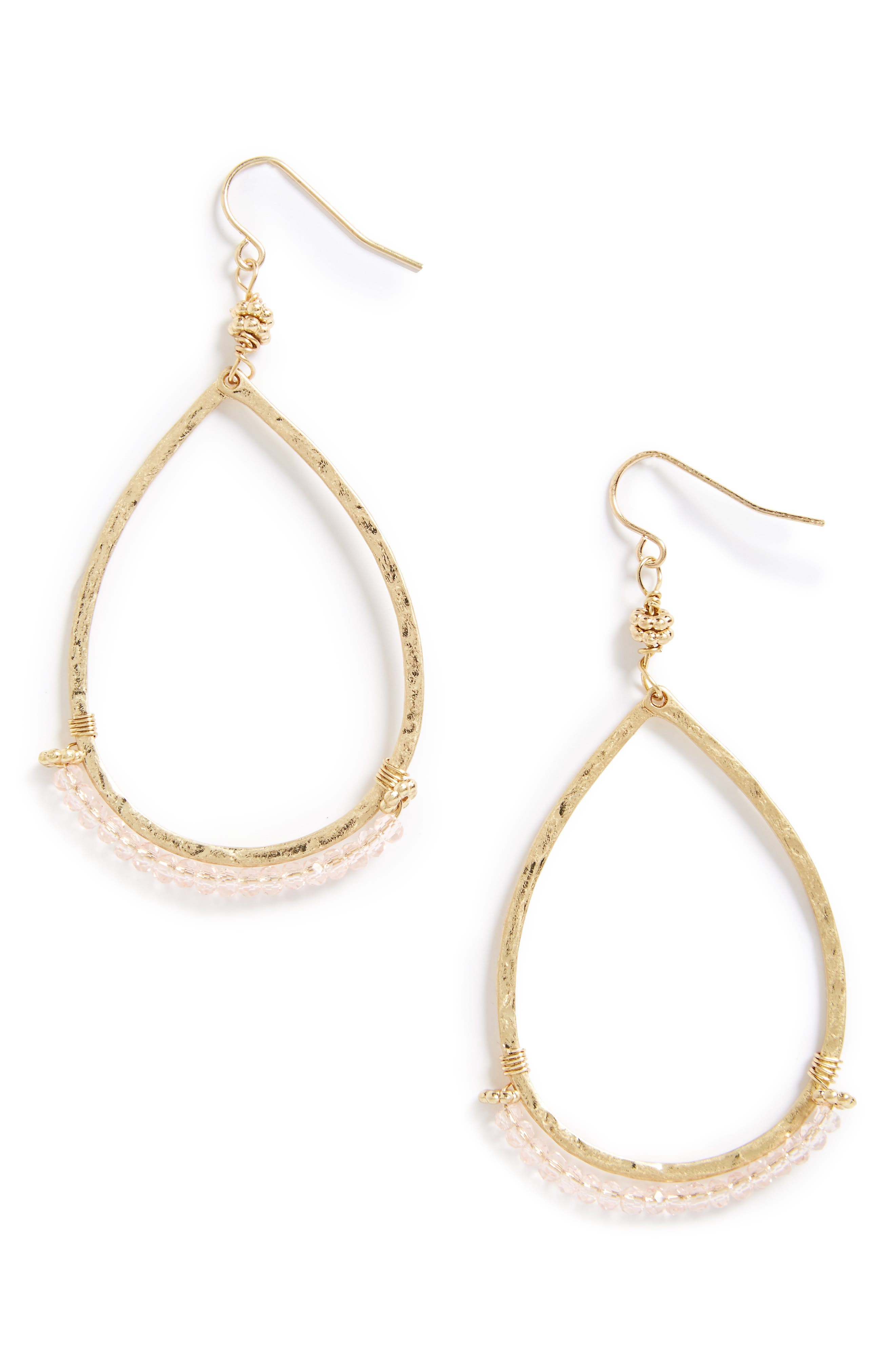 Beaded Teardrop Earrings,                         Main,                         color, Worn Gold/ Platinum Glass