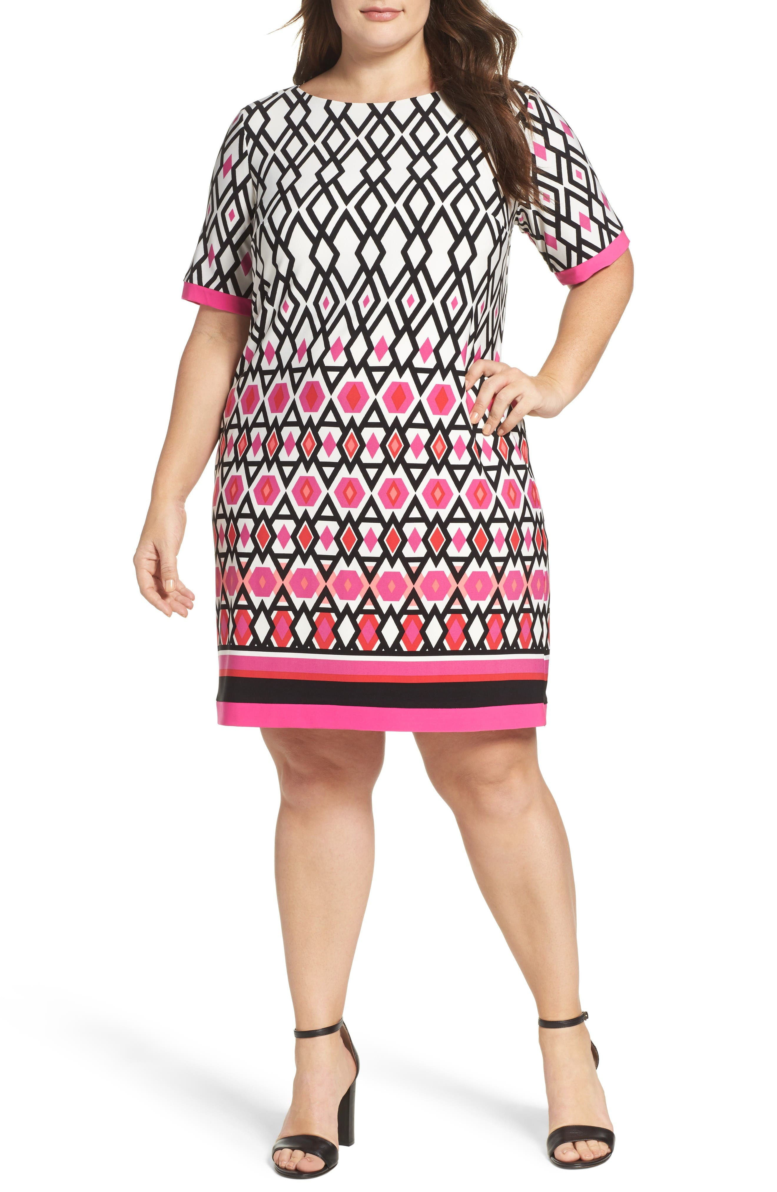 Graphic Print Shift Dress,                         Main,                         color, Pink