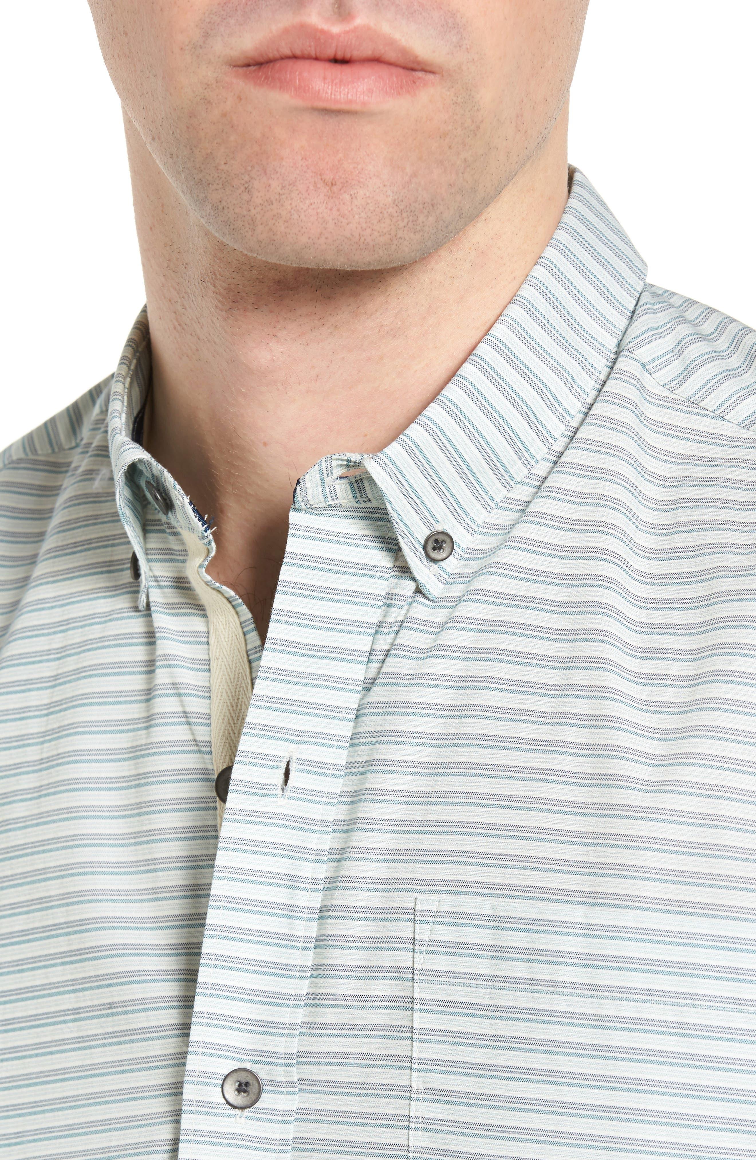 Alternate Image 4  - W.R.K Reworked Mini Stripe Slim Fit Sport Shirt