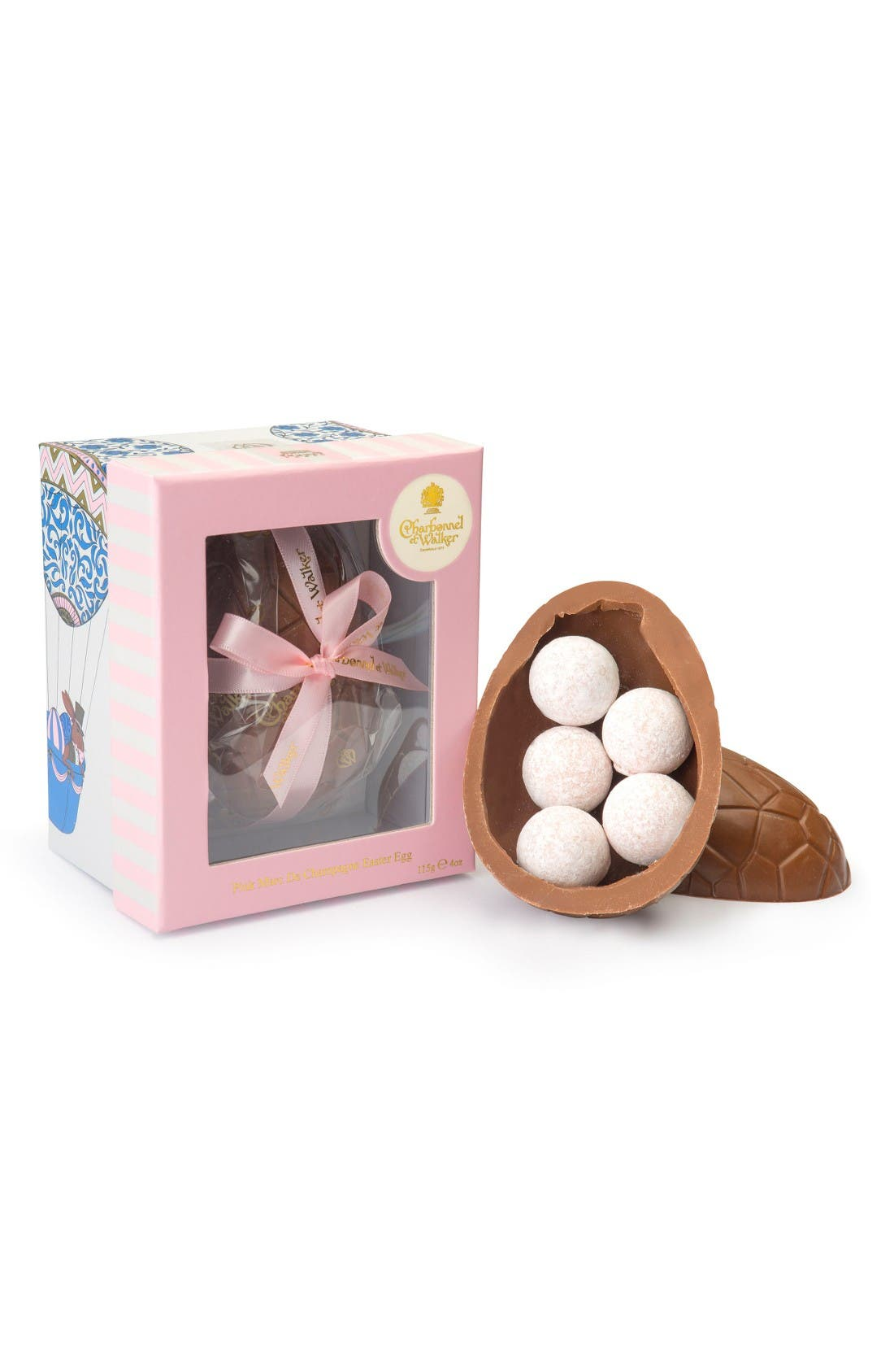 Marc de Champagne Truffles & Chocolate Egg in Gift Box,                             Main thumbnail 1, color,                             Milk/ Pink Champagne