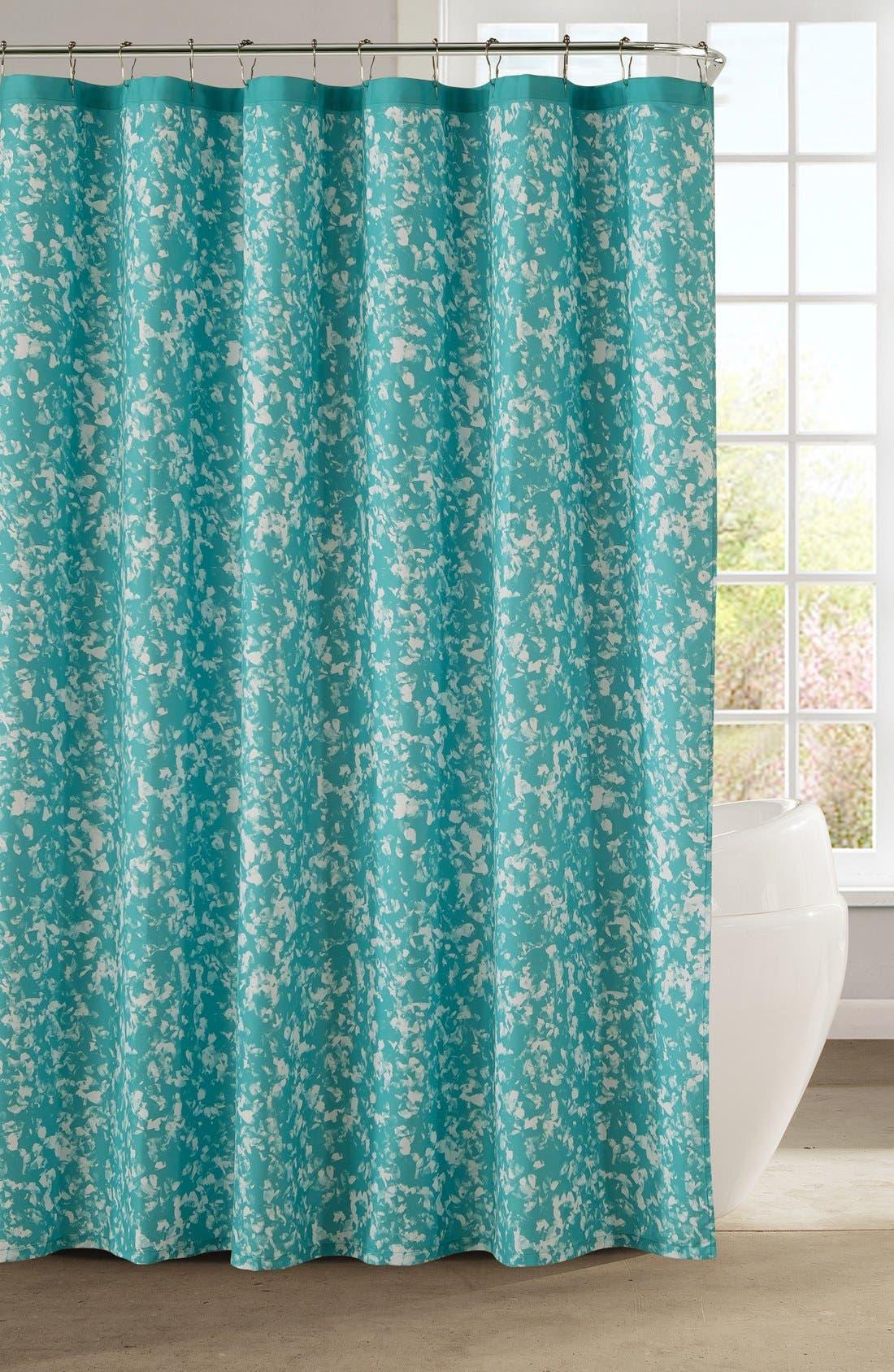 'Susie' Shower Curtain,                             Main thumbnail 1, color,                             Hazy Aqua