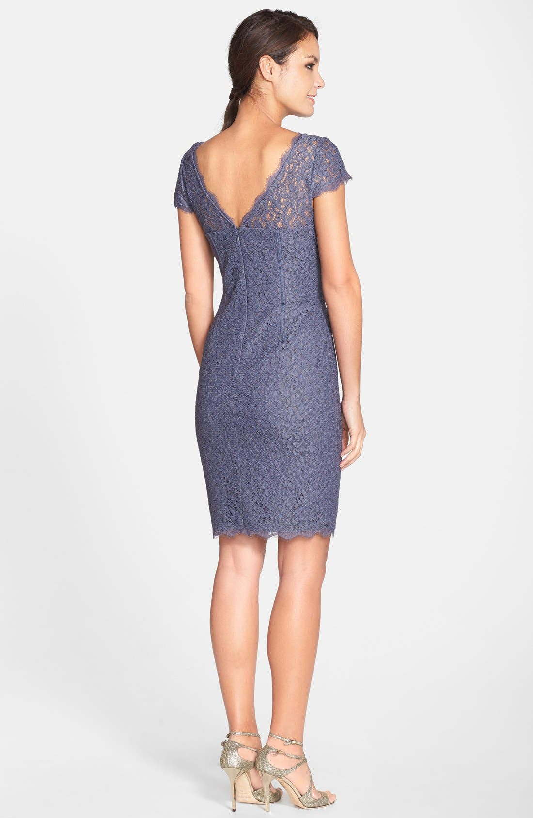 Alternate Image 2  - Adrianna Papell Seam Detail Lace Cocktail Dress