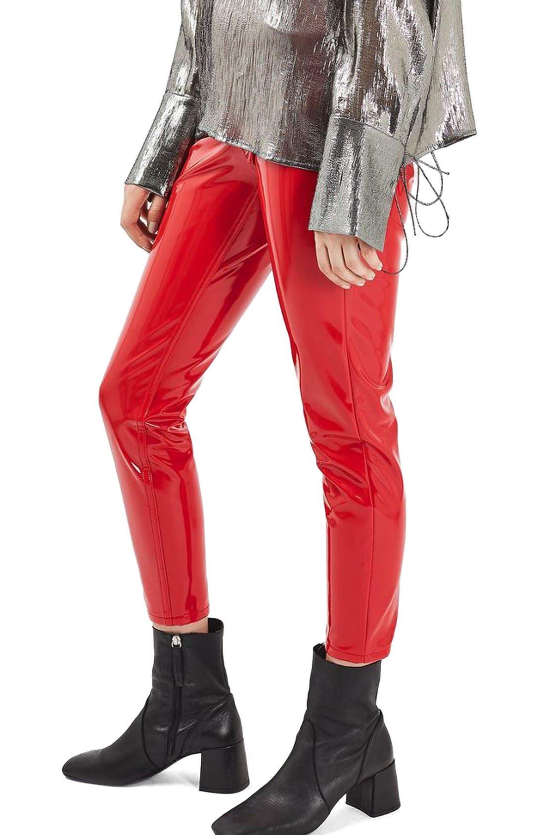 Main Image - Topshop Jamie Vinyl Skinny Jeans