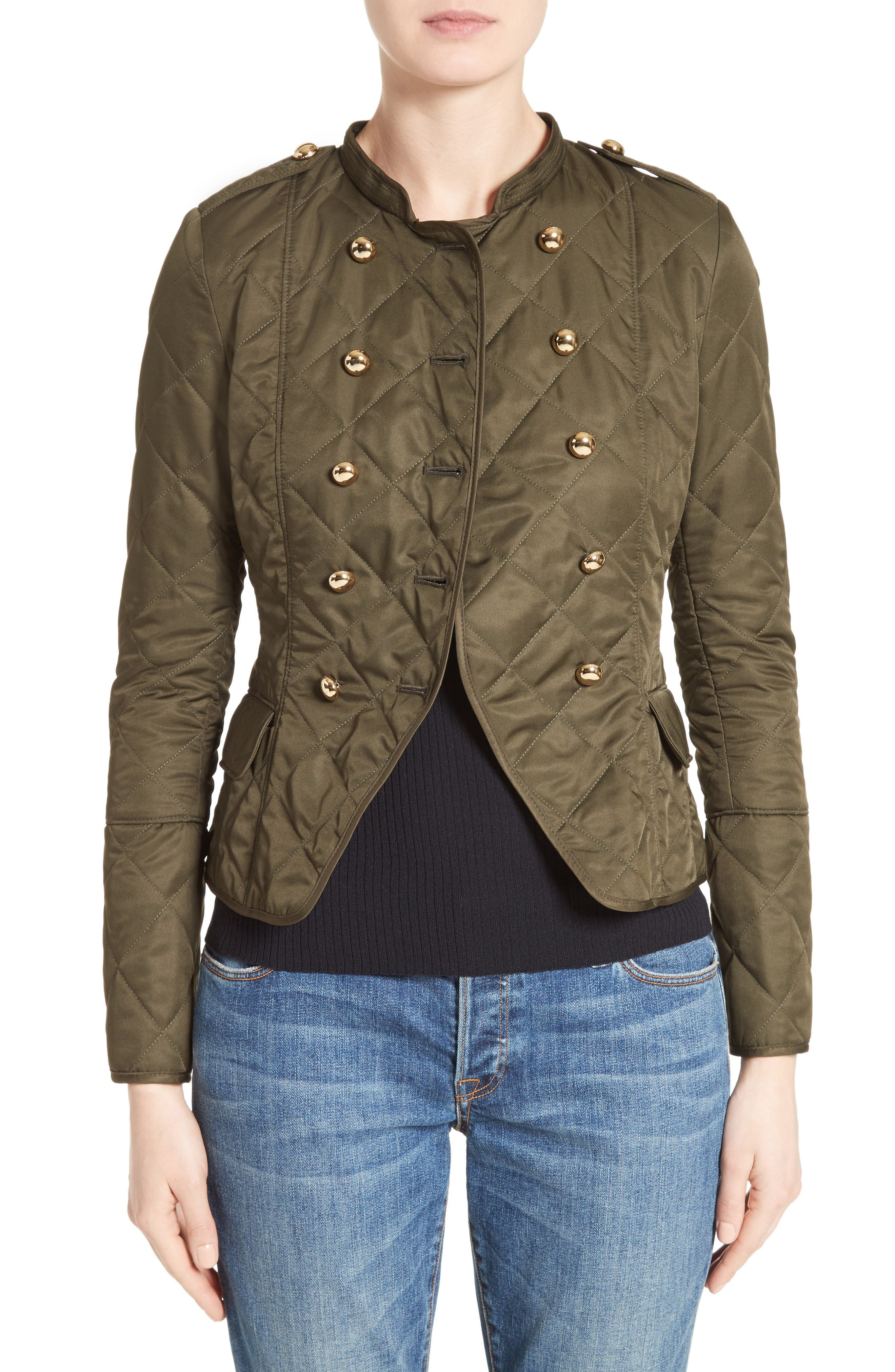 Boscastle Quilted Military Jacket,                         Main,                         color, Dark Olive