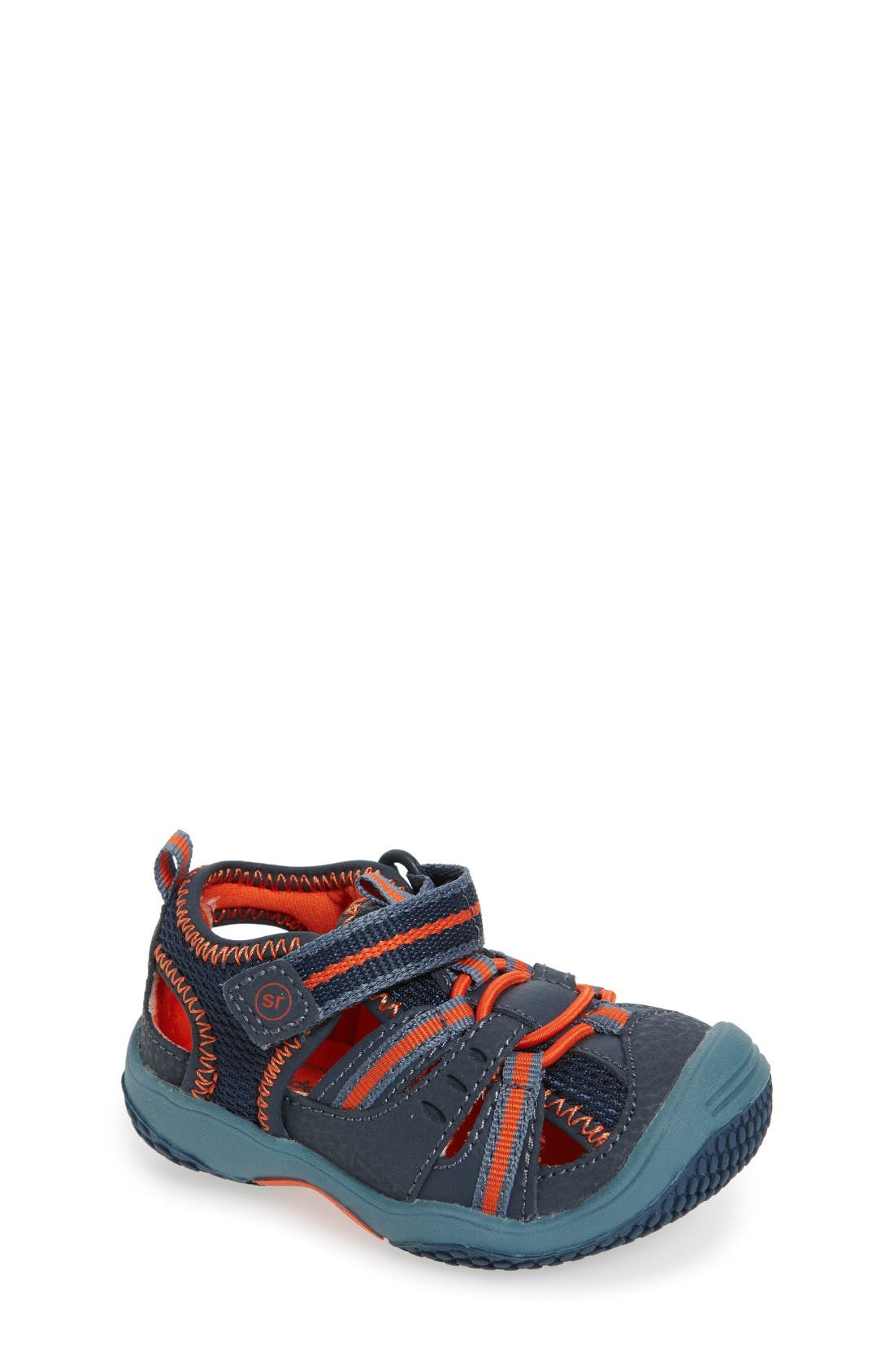 Baby Riff Sport Sandal,                             Main thumbnail 1, color,                             Navy/ Orange Leather