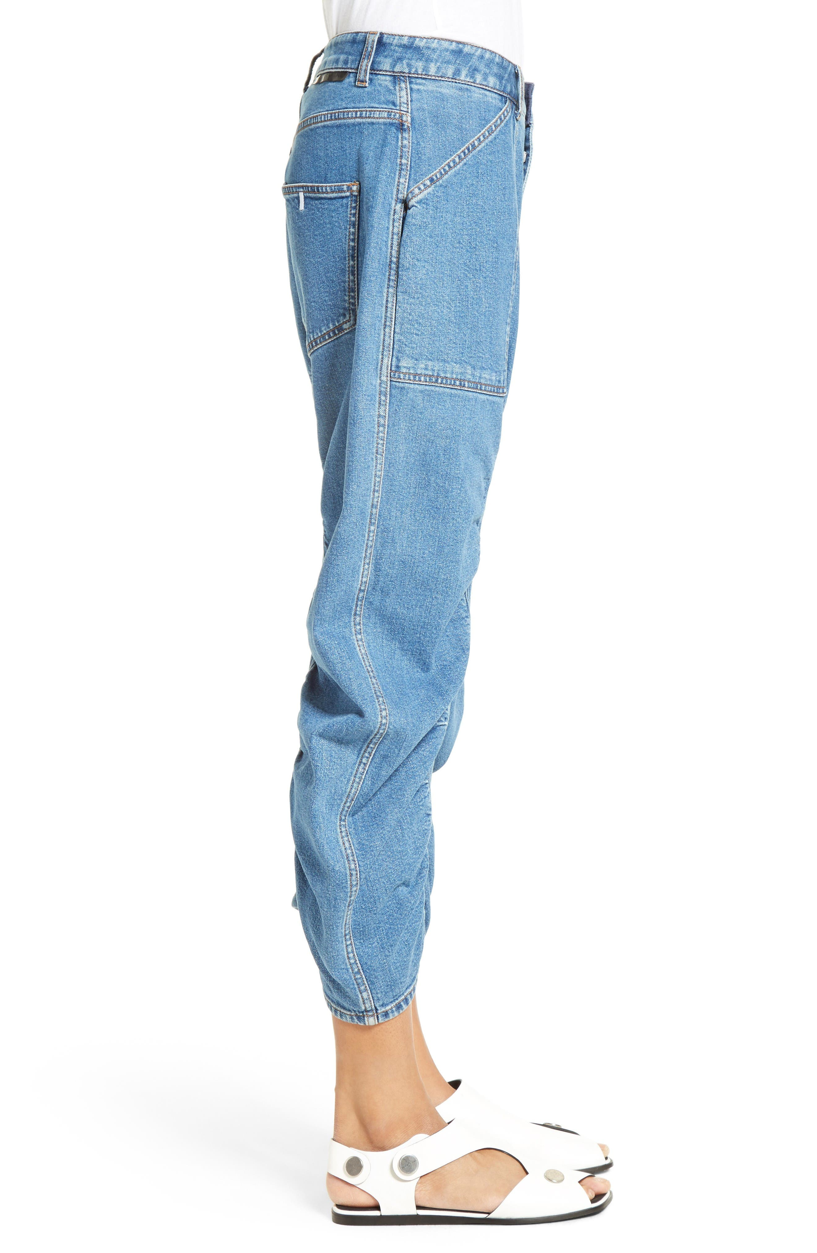 Xenia Ruched Crop Jeans,                             Alternate thumbnail 4, color,                             Blue