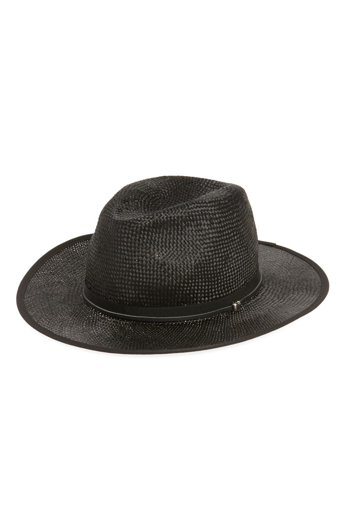 Main Image - The Kooples Leather Trim Straw Hat