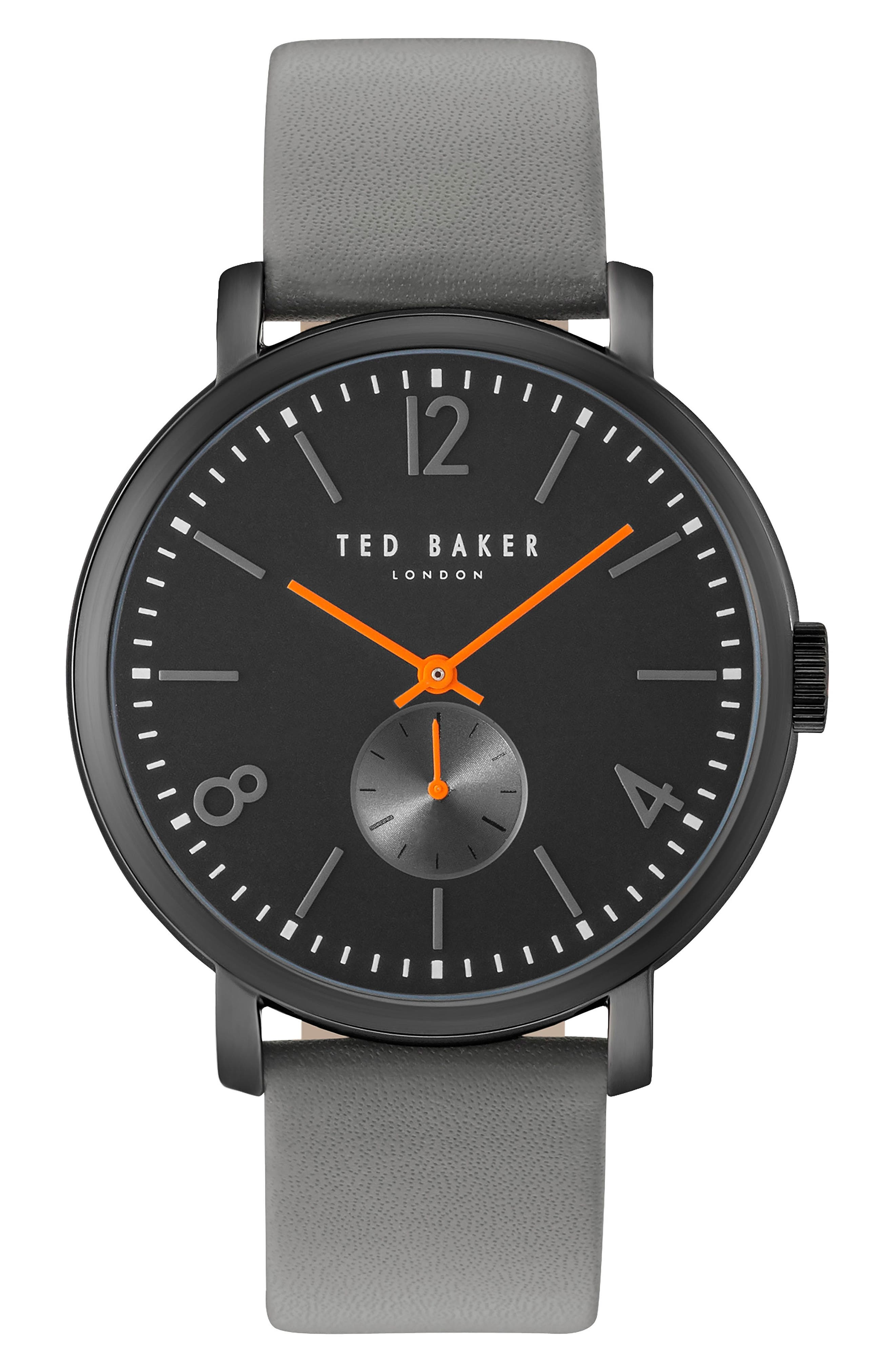 Ted Baker London Oliver Leather Strap Watch, 42mm