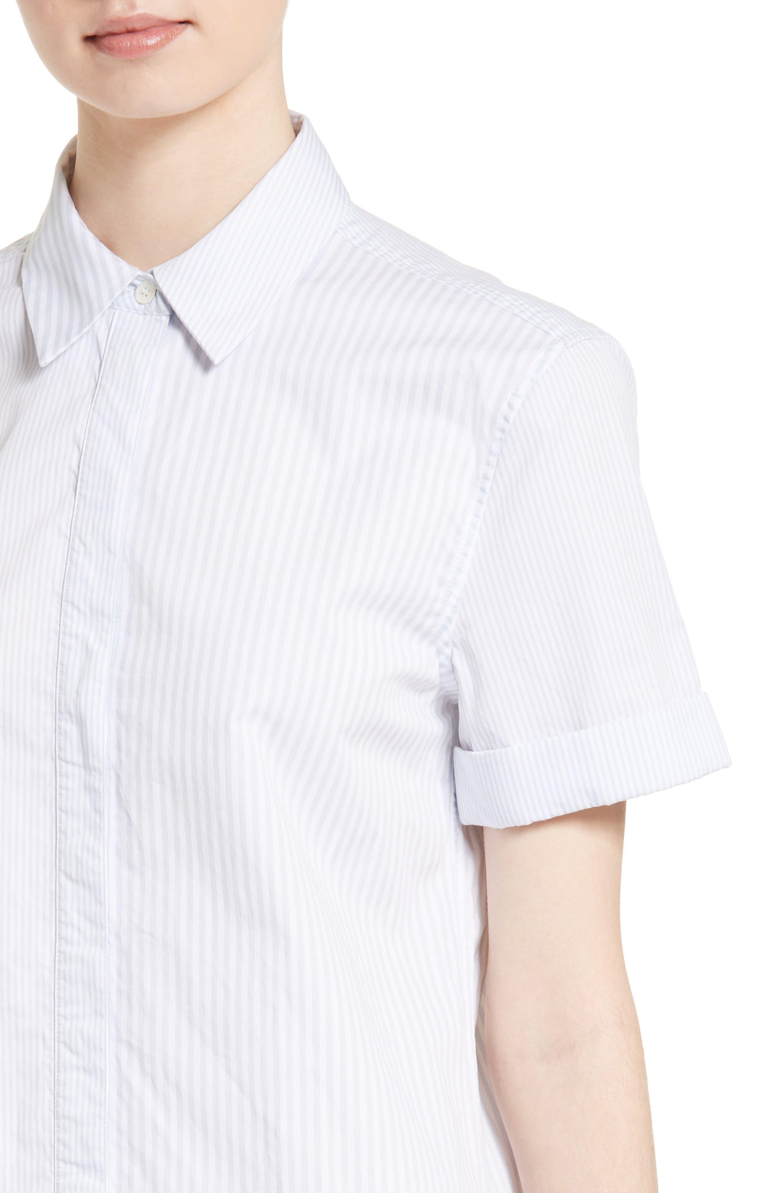 Mirelle Stripe Cotton Shirtdress,                             Alternate thumbnail 4, color,                             Bt Wht-Bri