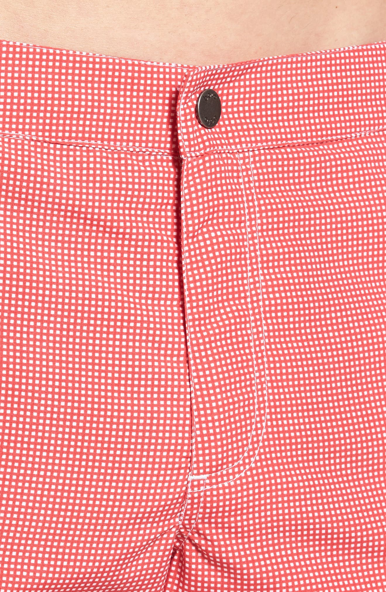 Aruba Microcheck Tailored Fit 8.5 Inch Swim Trunks,                             Alternate thumbnail 4, color,                             Coral