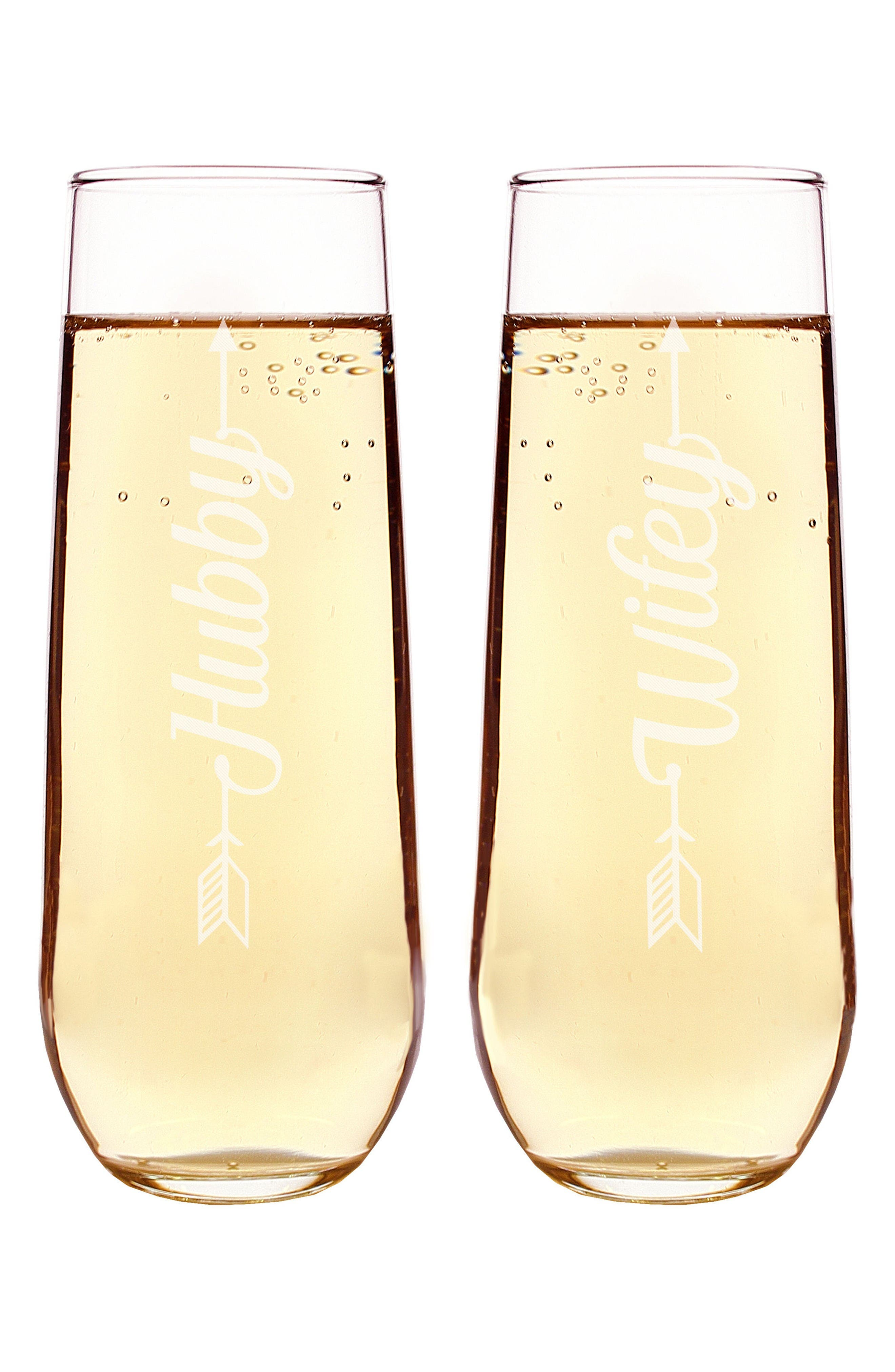 Hubby/Wifey Set of 2 Stemless Champagne Flutes,                         Main,                         color, Clear
