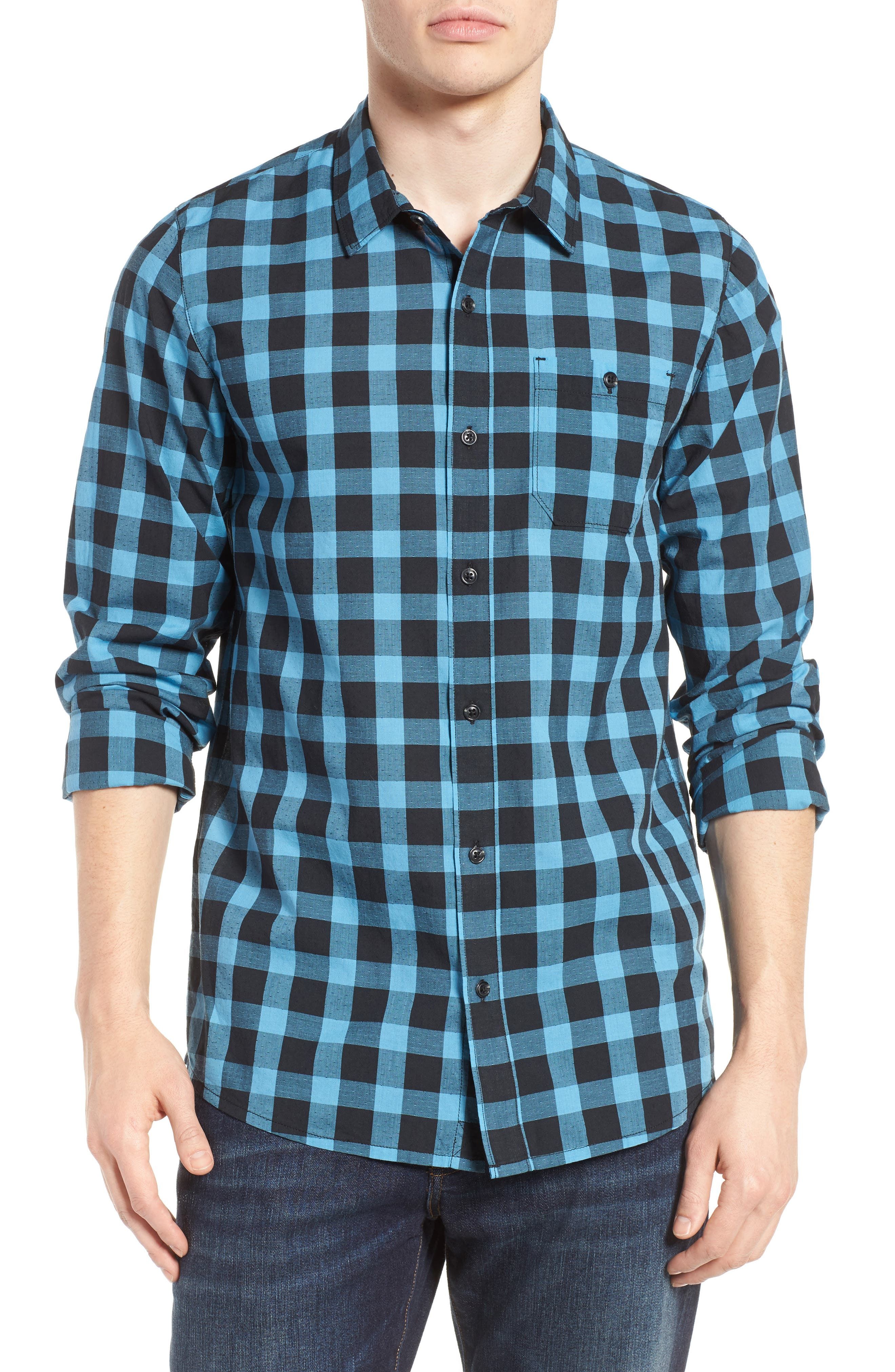 Big Cree Slim Fit Dobby Check Sport Shirt,                         Main,                         color, Black/ Cendre Blue