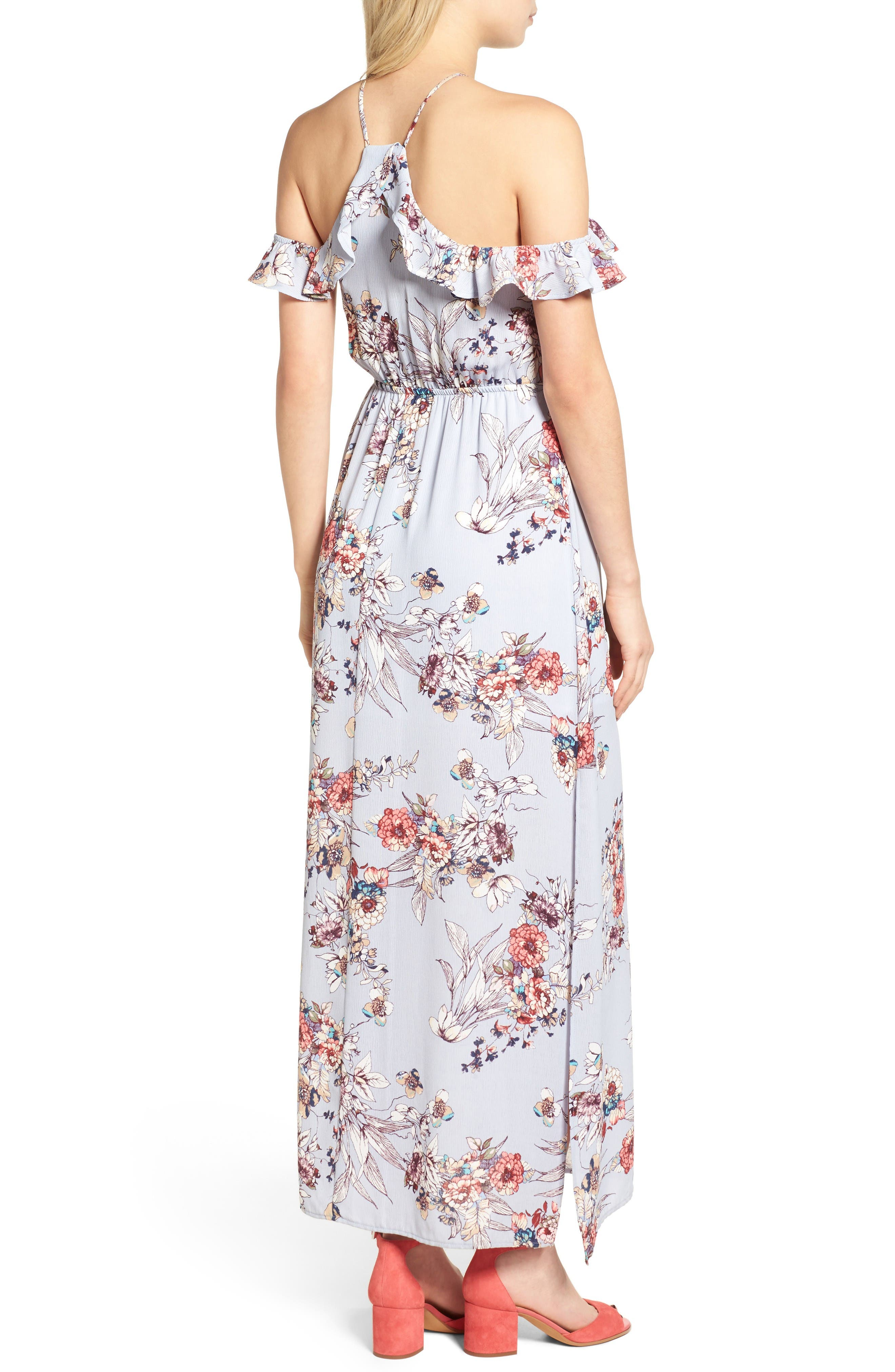 Alternate Image 2  - One Clothing Floral Cold Shoulder Maxi Dress